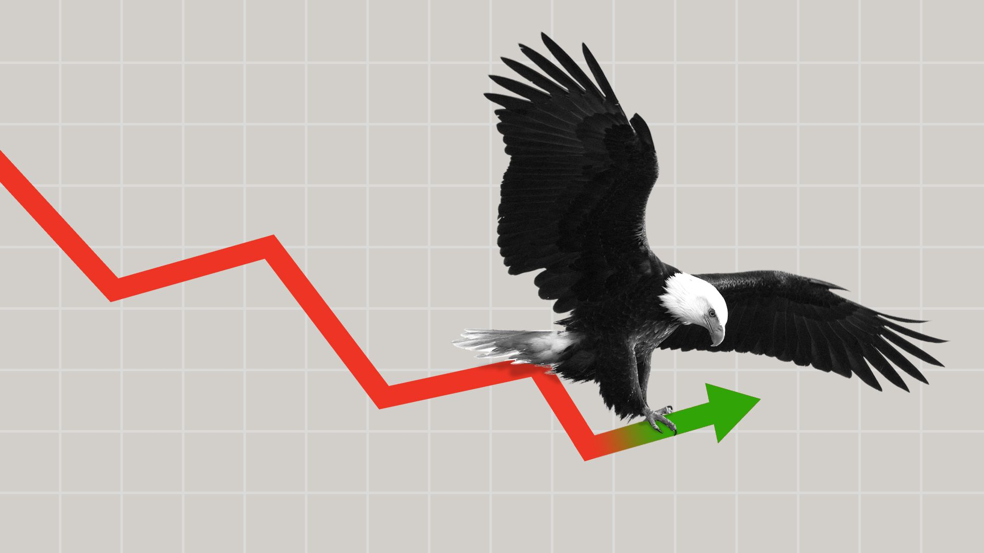This is an eagle riding on a stock chart