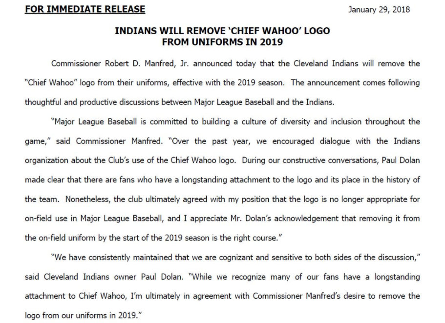 aade57ae4 Cleveland Indians to remove Chief Wahoo logo from uniforms - Axios