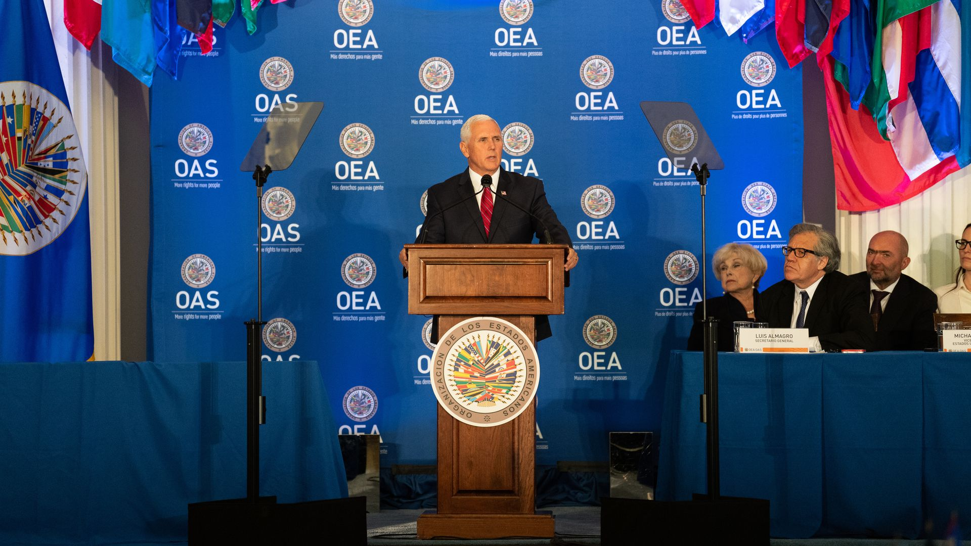 U.S. Vice President Mike Pence at the Organization of American States in Washington, DC.
