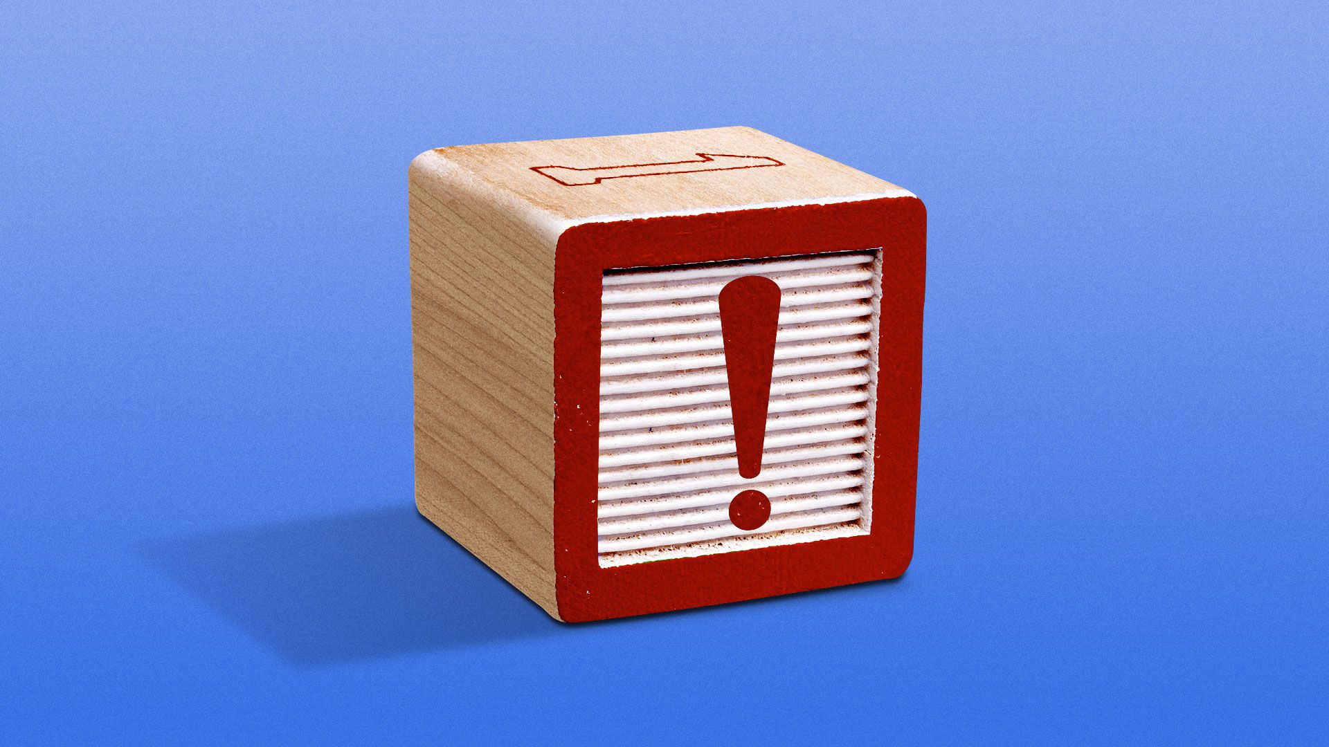 Illustration of wooden child's play block with an exclamation point