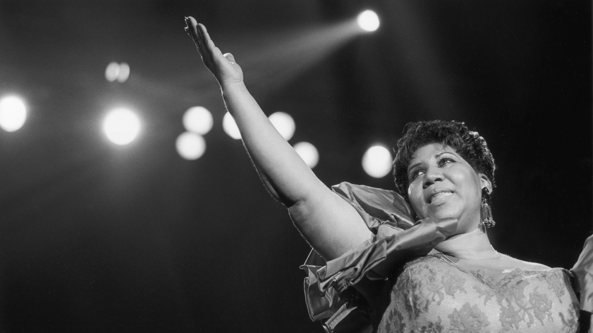 Soul singer Aretha Franklin performing at the New Orleans Jazz Festival in 1994.