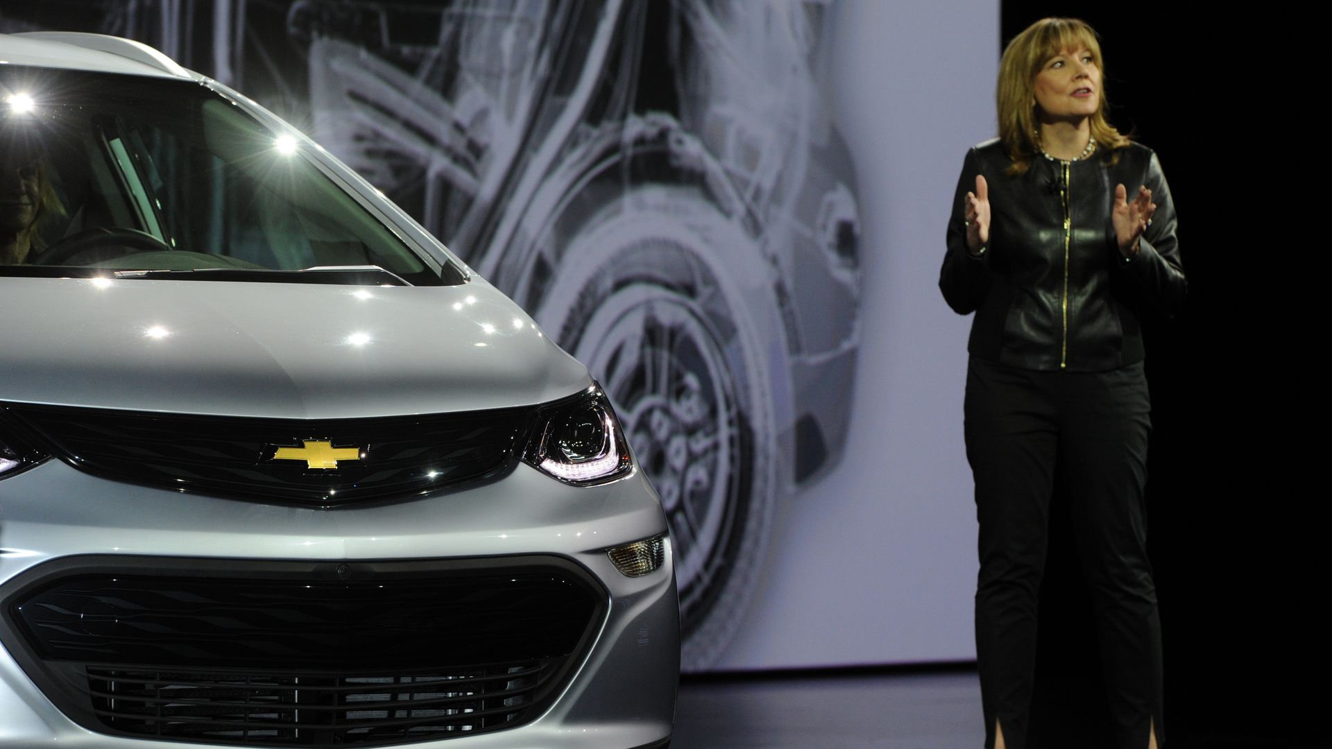 GM CEO Mary Barra introducing the Chevrolet Bolt in 2016 at CES in Las Vegas
