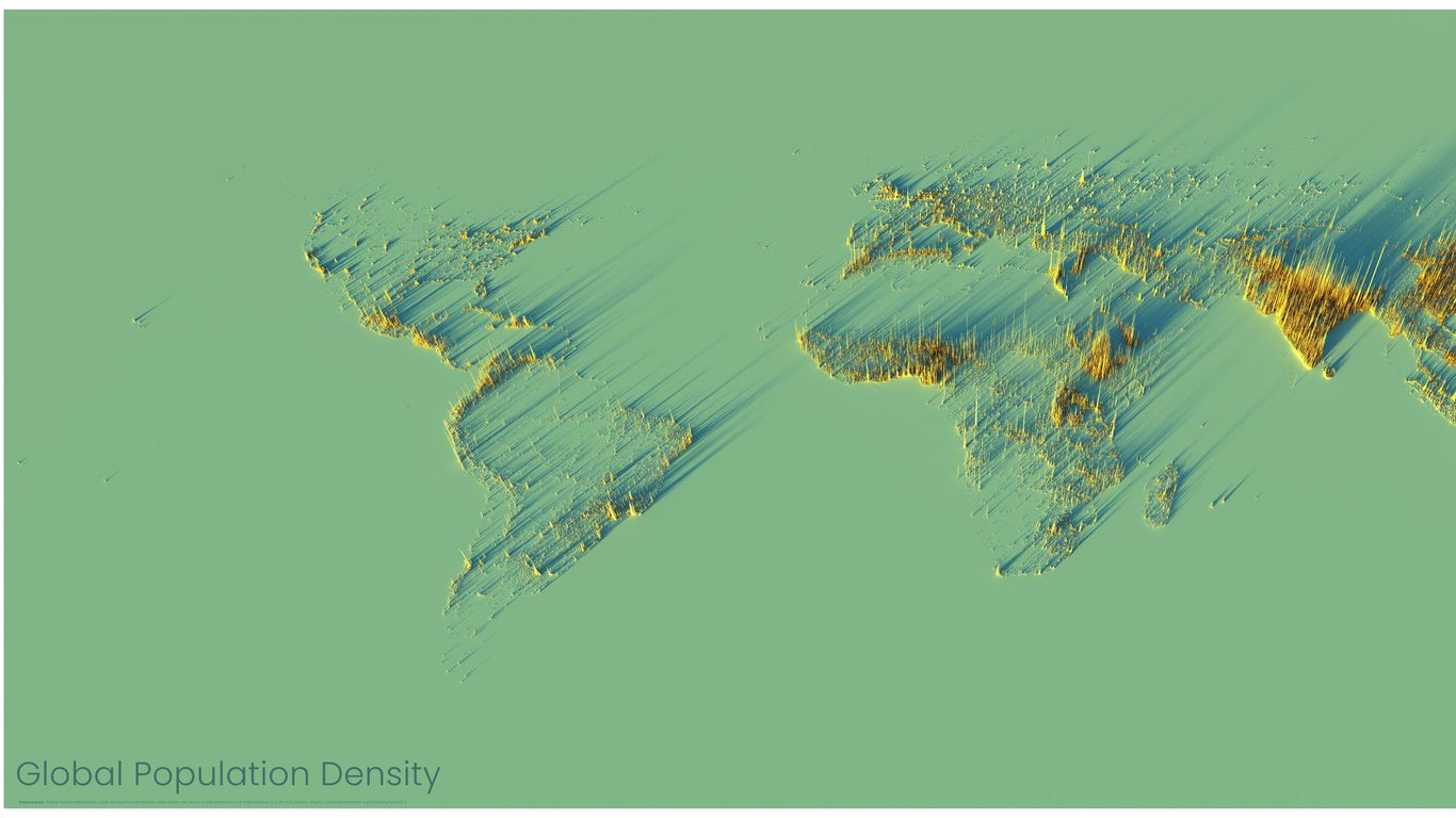 Map: A look at world population density in 3D
