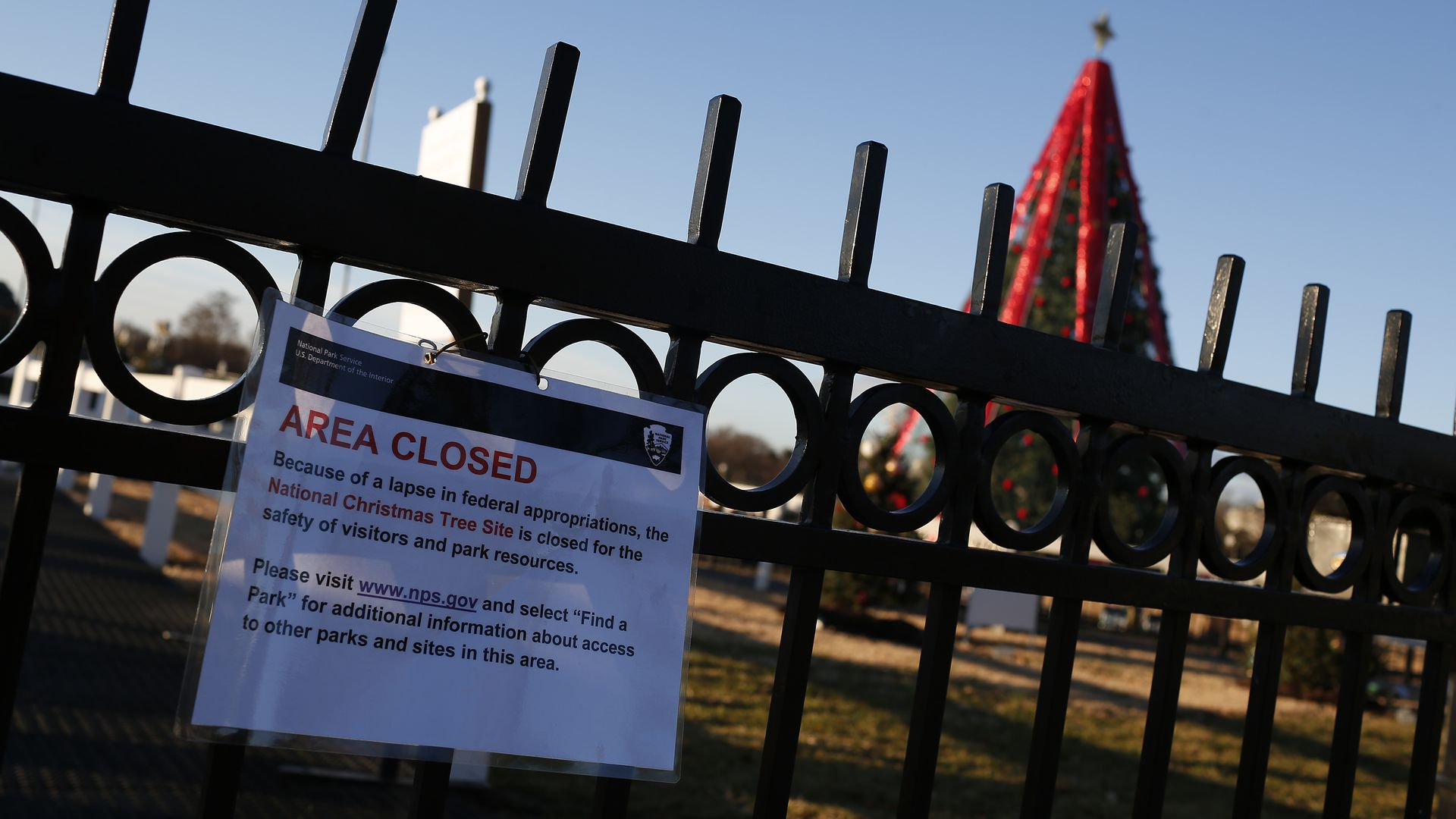 National christmas tree closed due to shutdown