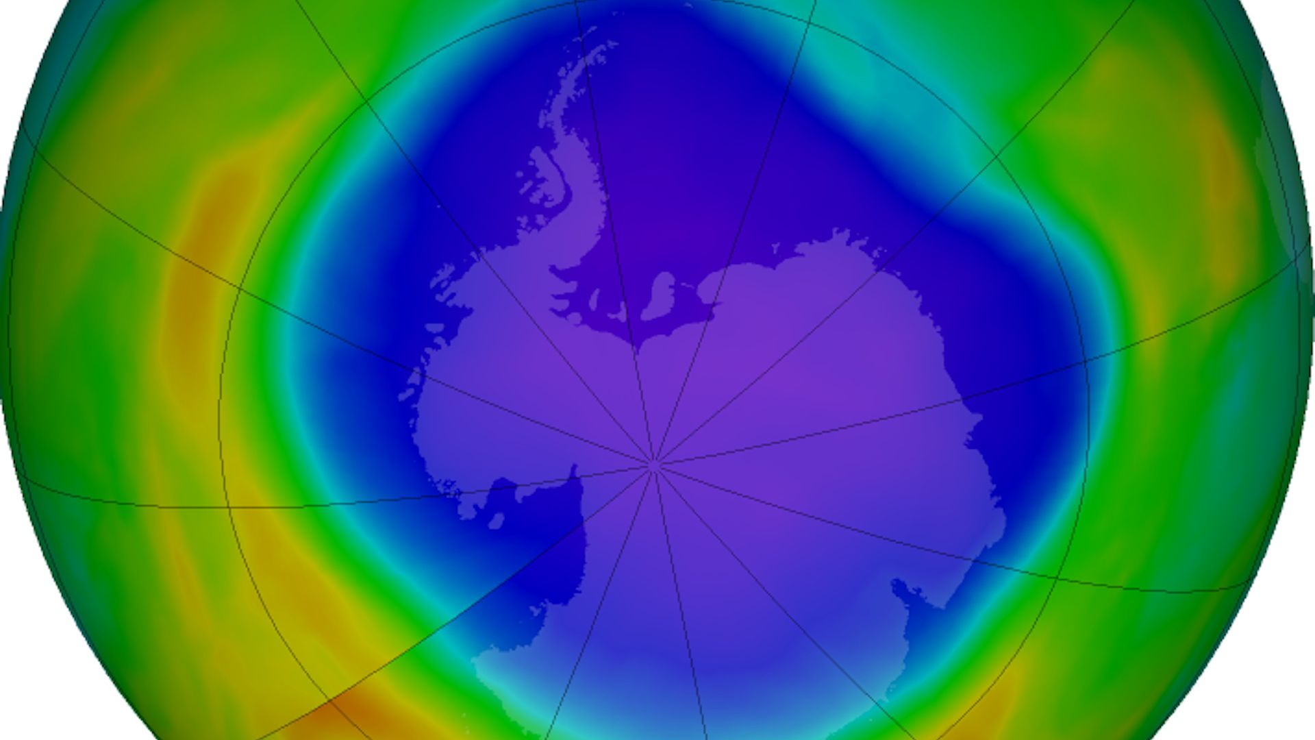 False-color view of total ozone over the Antarctic pole in 2018.