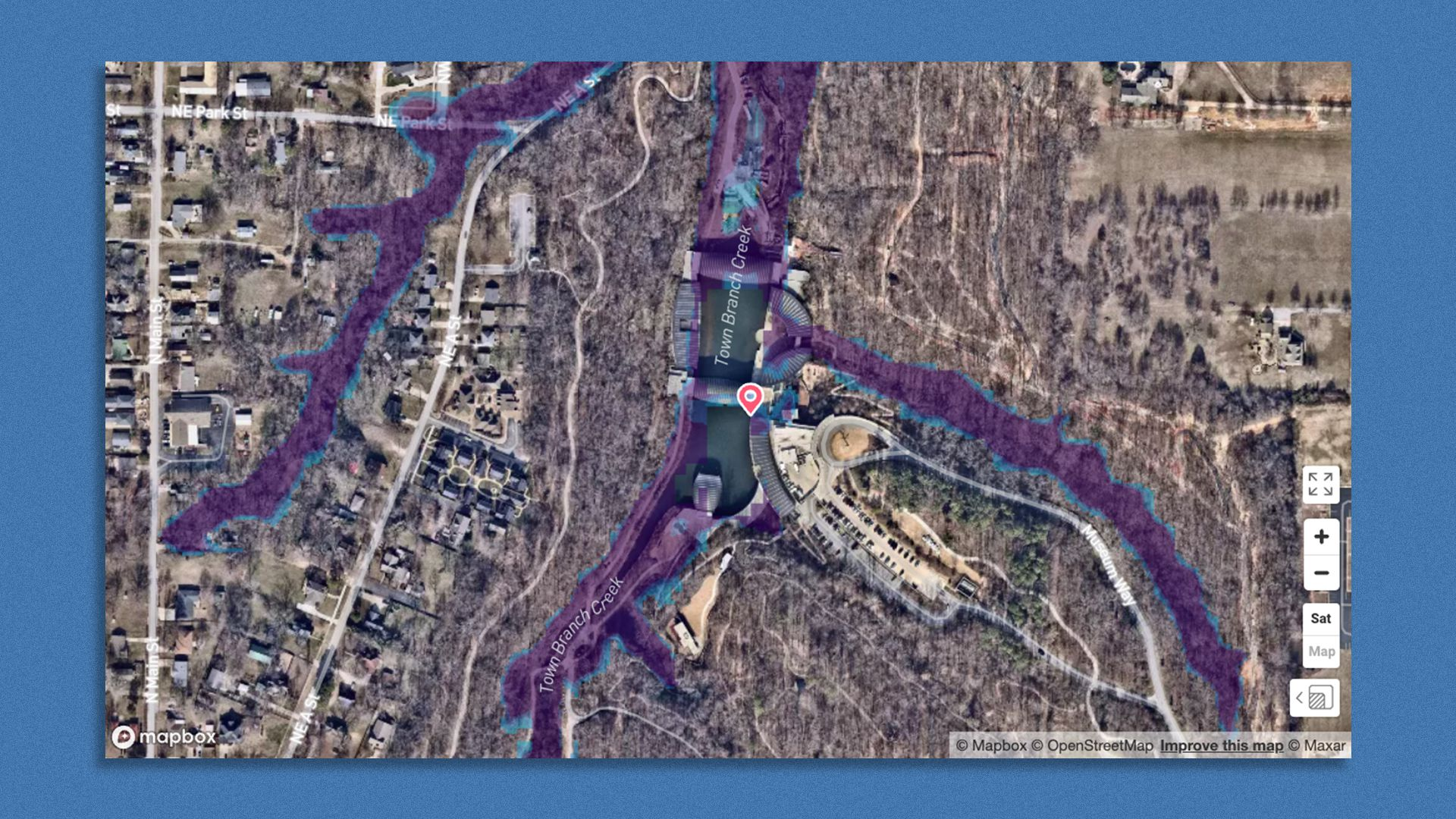 Screen shot of Flood Factor's satellite image of Crystal Bridges Museum of American Art and potential flood patterns.