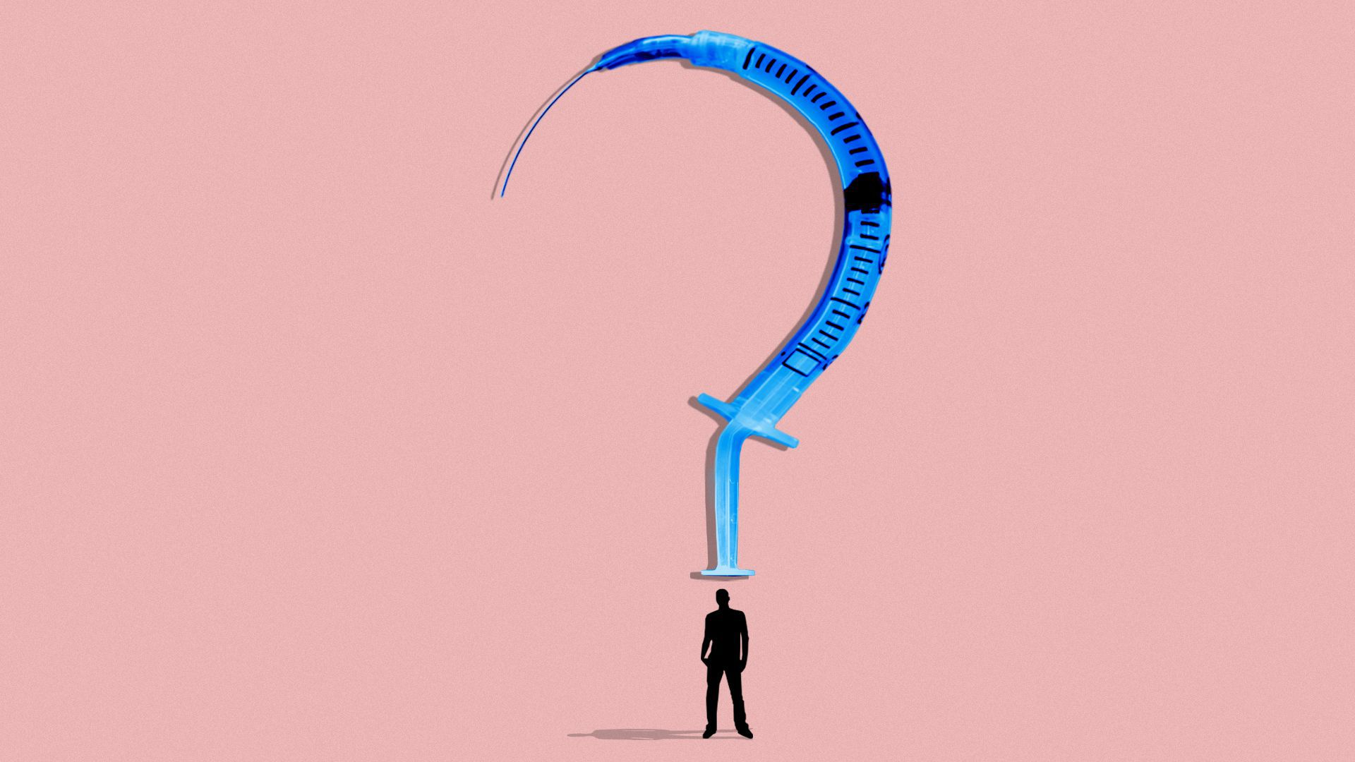 Illustration of a vaccine syringe in the shape of a question mark, hovering over a person in silhouette