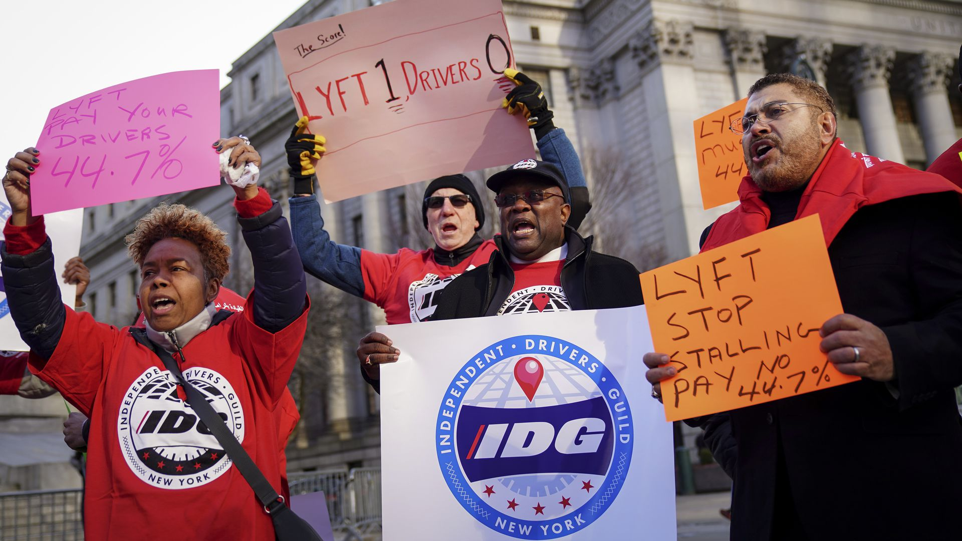 Members and supporters of the Independent Drivers Guild protest against Lyft's minimum wage for drivers in New York City  in March.