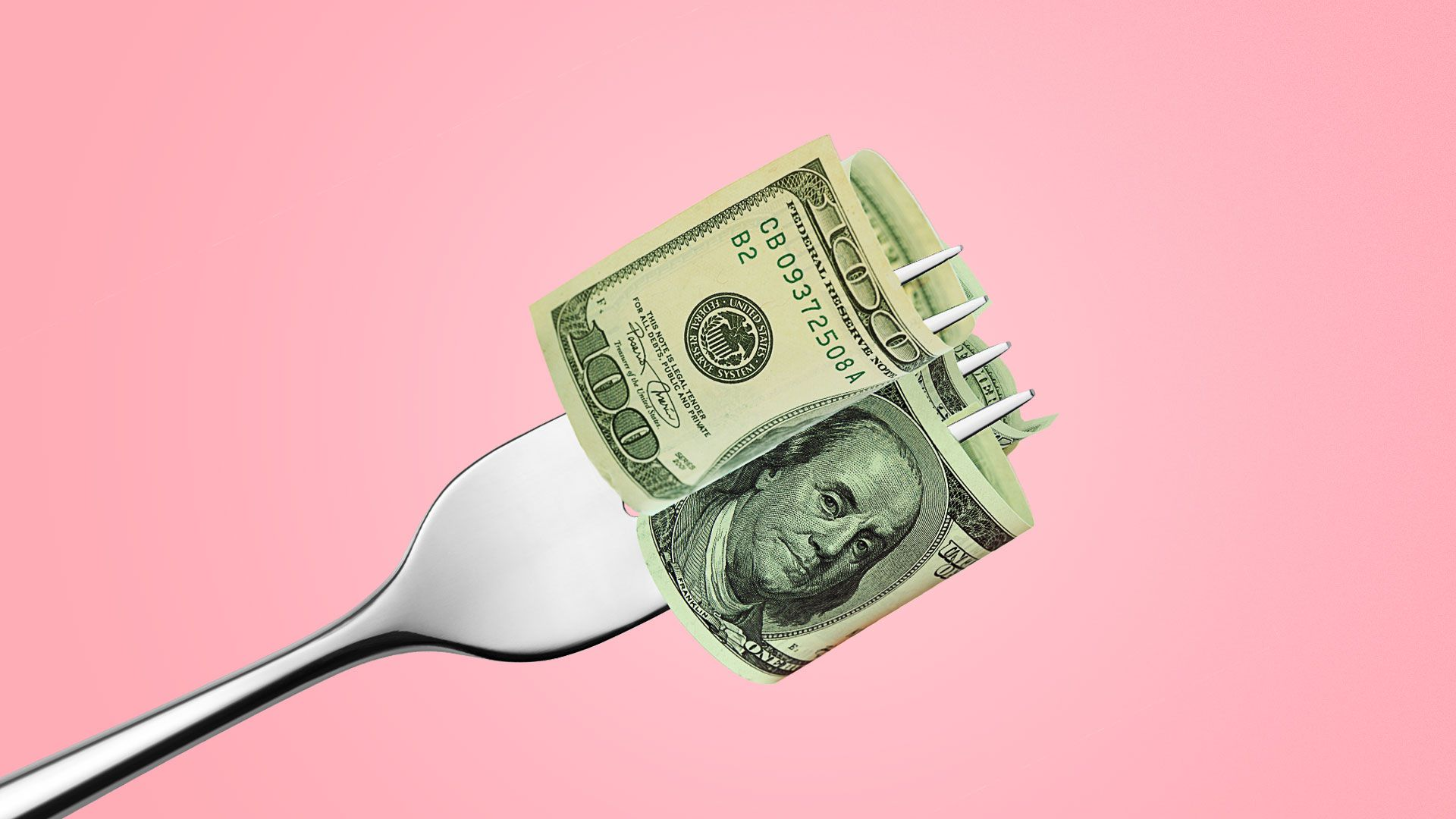 Illustration of dollar bills being twirled on a fork.