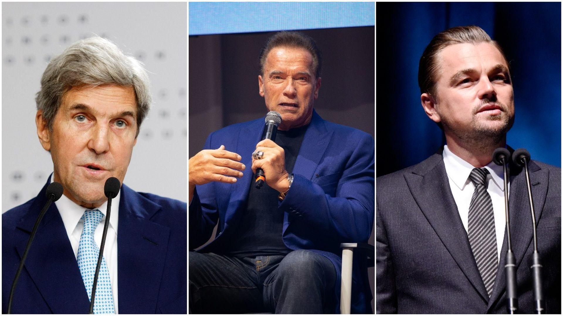John Kerry, Arnold Schwarzeneger, Leonardo DiCaprio