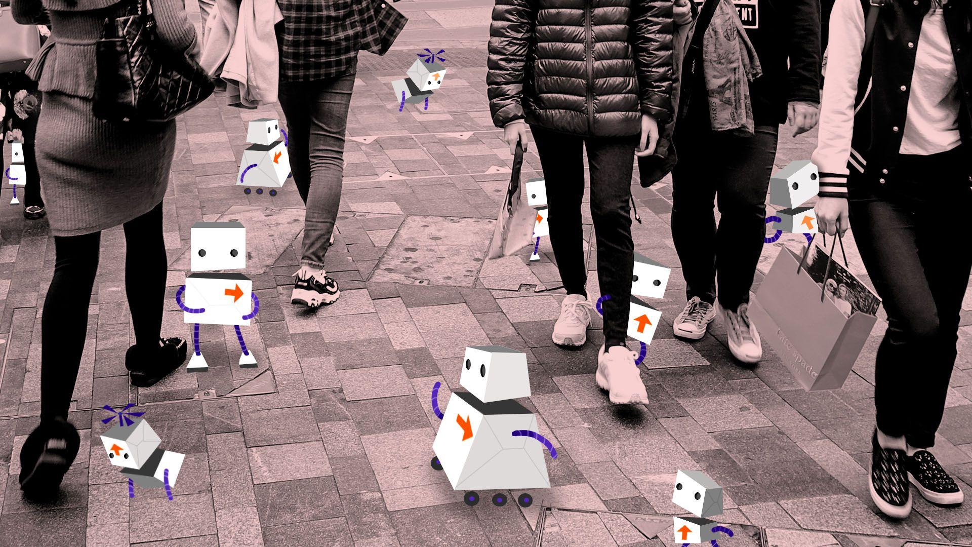 Illustration of cartoon FedEx robots populating a busy city sidewalk
