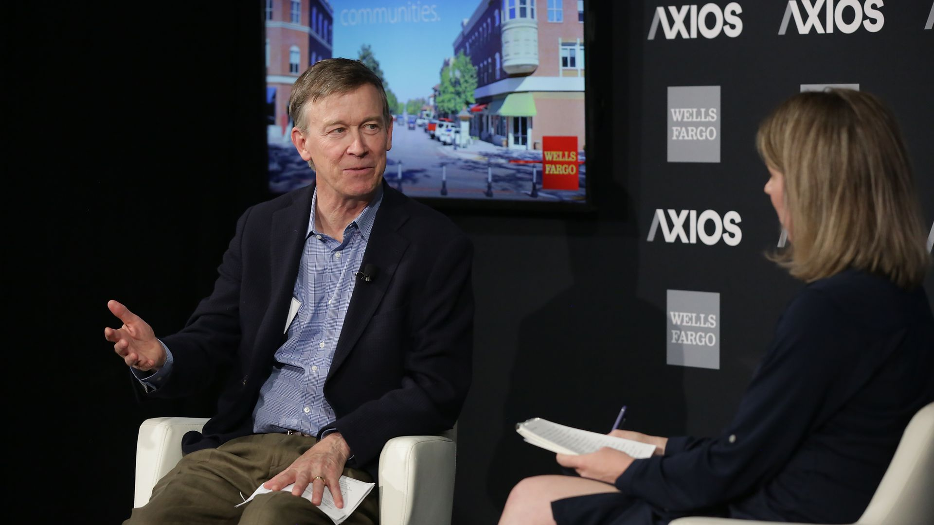 Colorado Governor John Hickenlooper speaks at an Axios event in Denver on Friday
