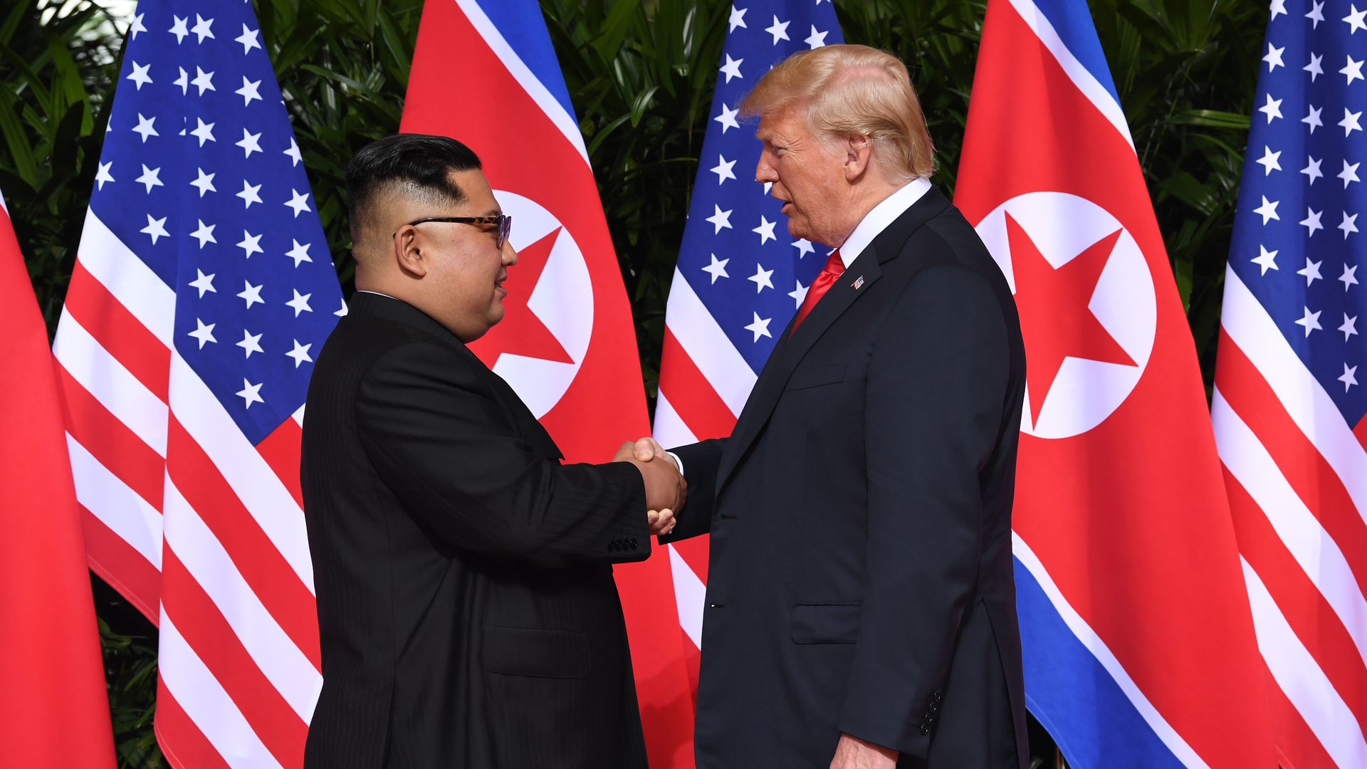 President Trump and North Korea's leader Kim Jong-un at their summit in Singapore on June 12, 2018.