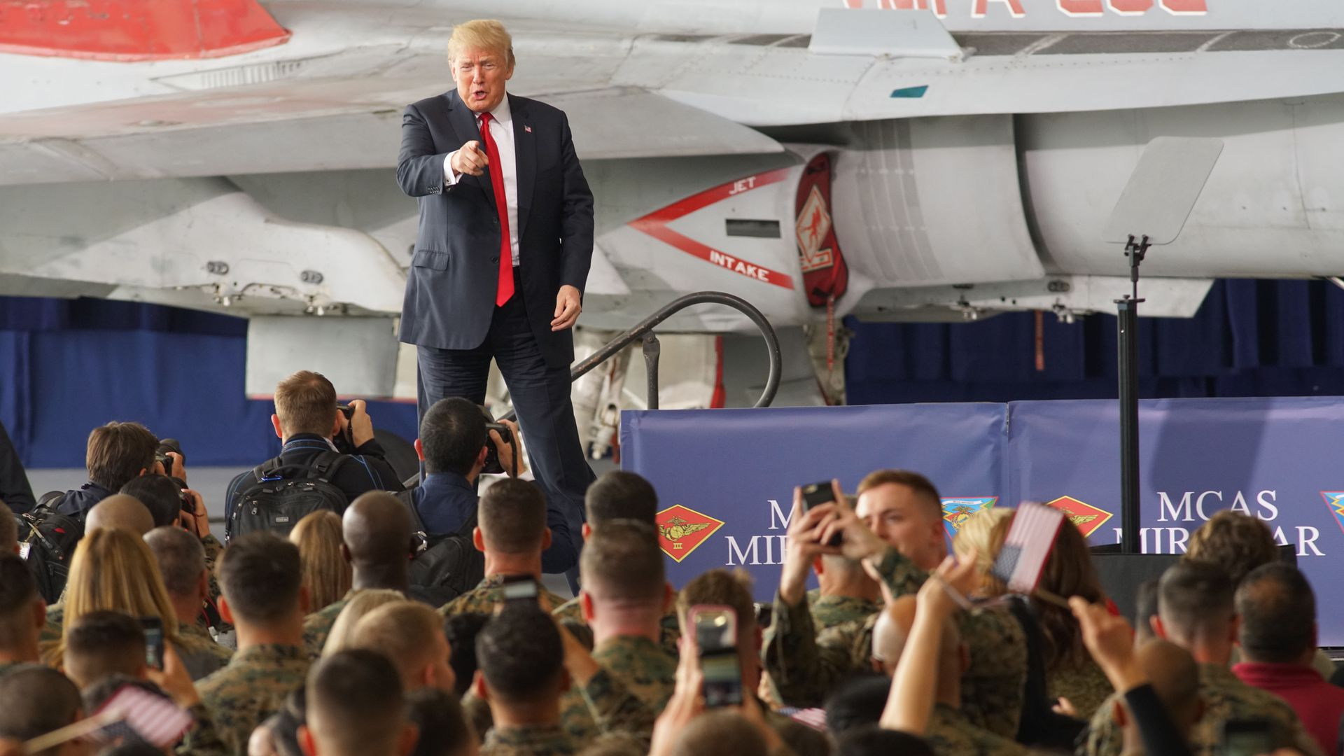 President Donald Trump addresses troops at Miramar Marine Corp Air Station in California.