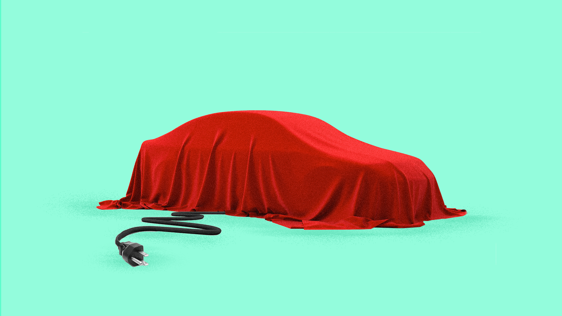 Illustration of a car under a red blanket with a plug.