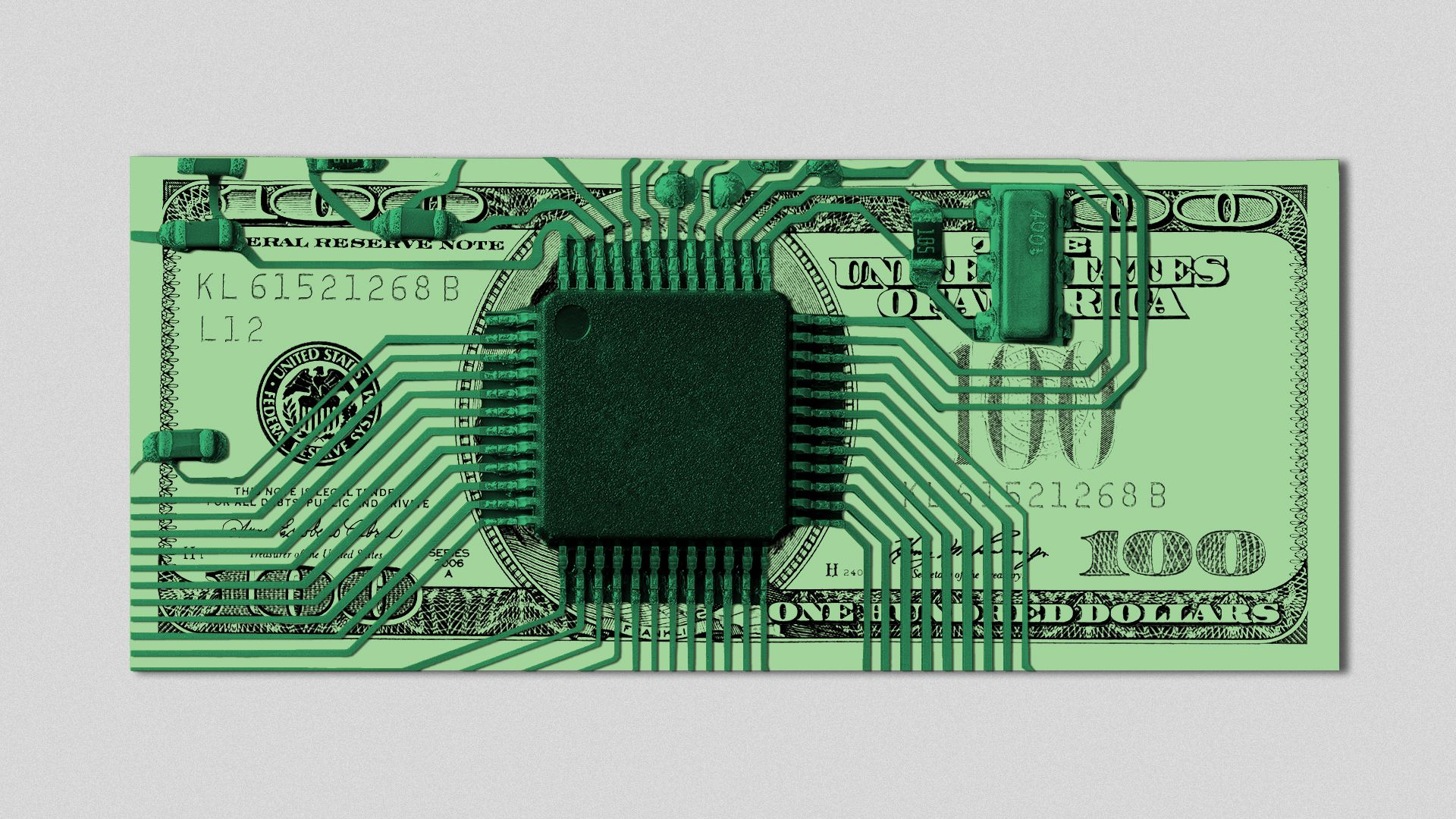 Illustration of a hundred dollar bill as a circuit board.