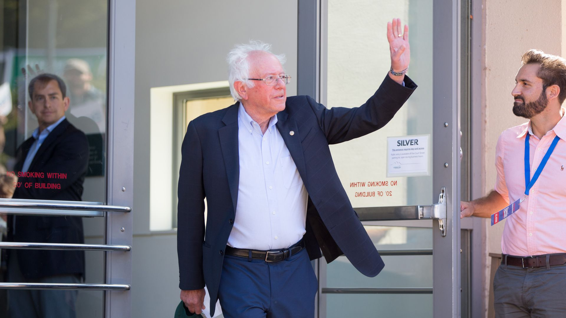 Sen. Bernie Sanders waves at a campaign event last month.