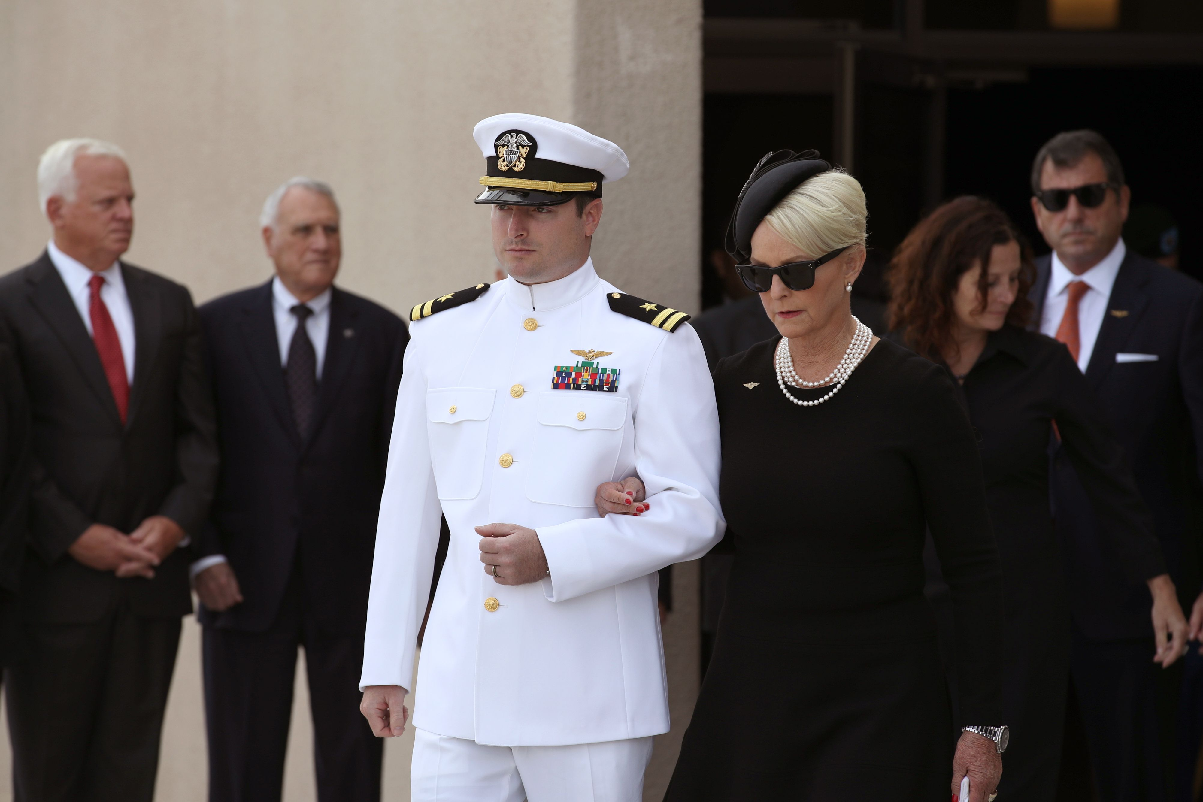 Cindy McCain in all black at funeral
