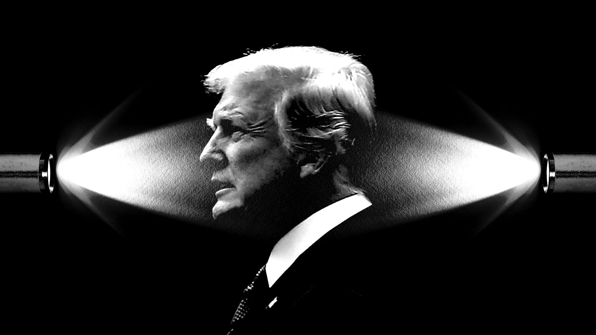 Illustration of Trump with flashlights pointing at him from two directions