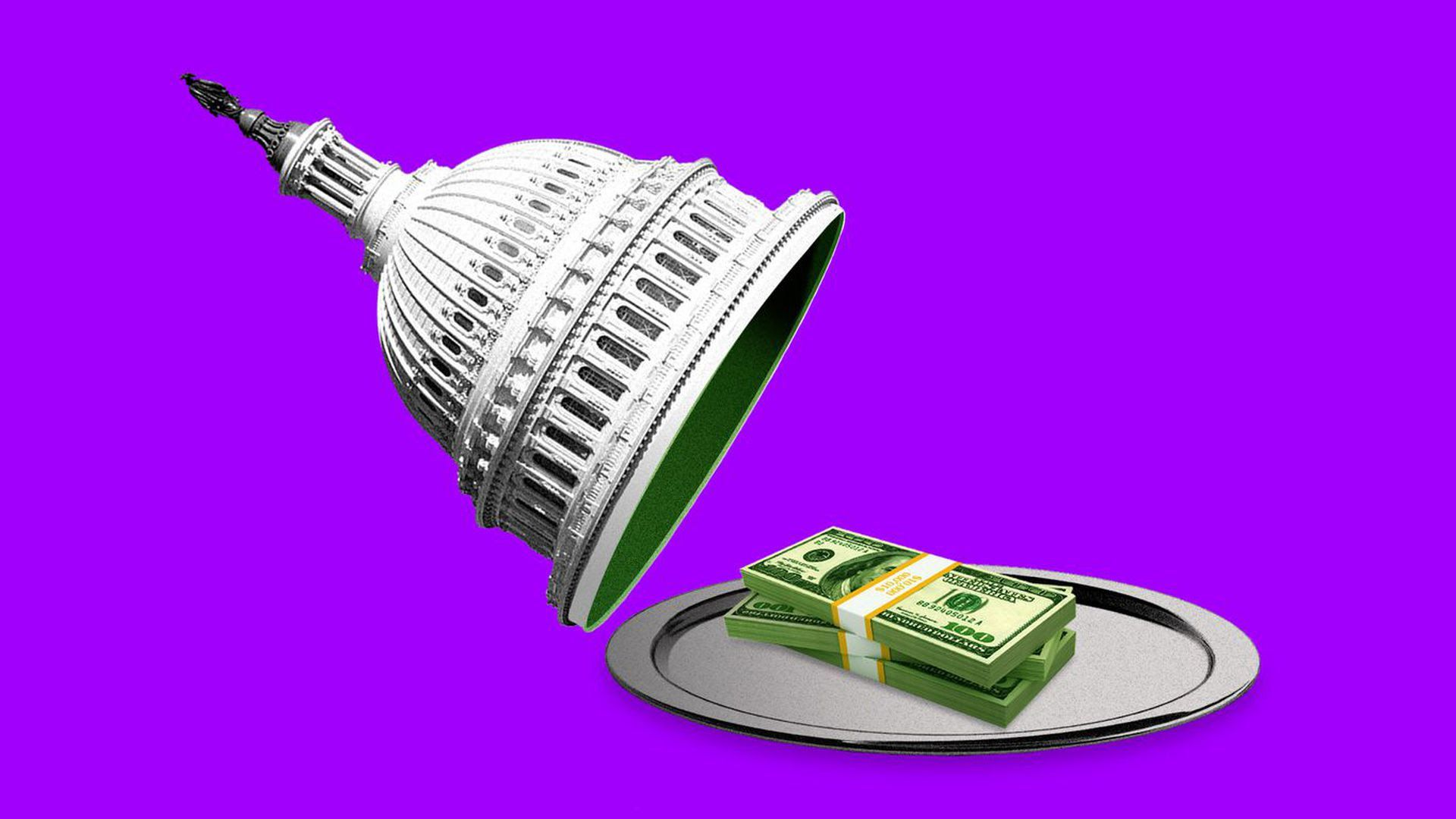 Illustration of Congressional dome lifting to show a platter of money