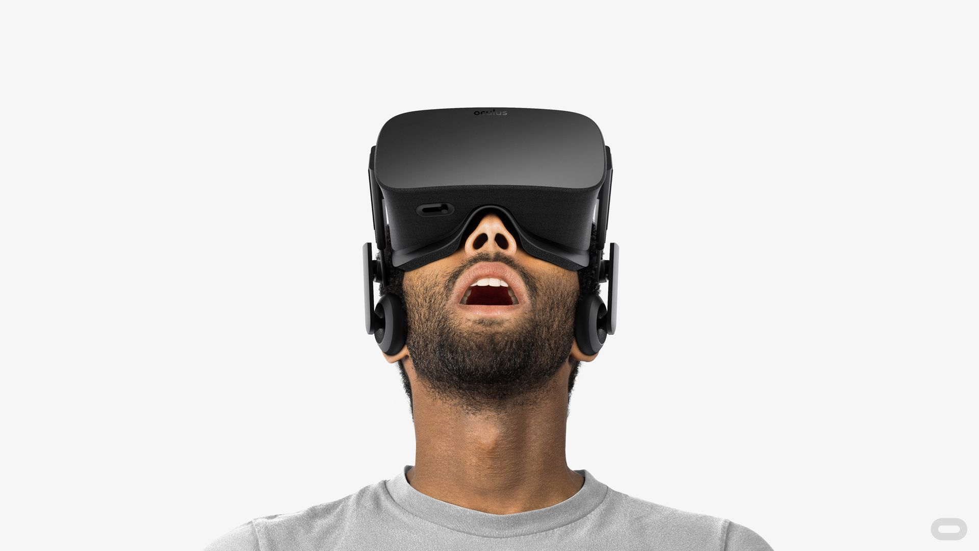Man wearing an Oculus Rift headset