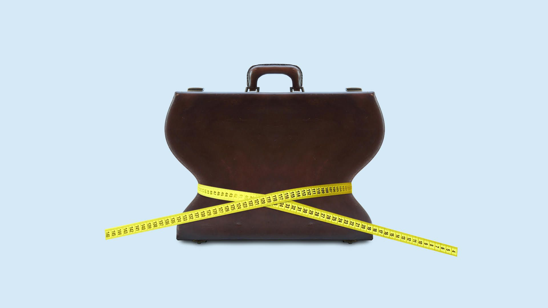 Illustration of measuring tape wrapped around a briefcase