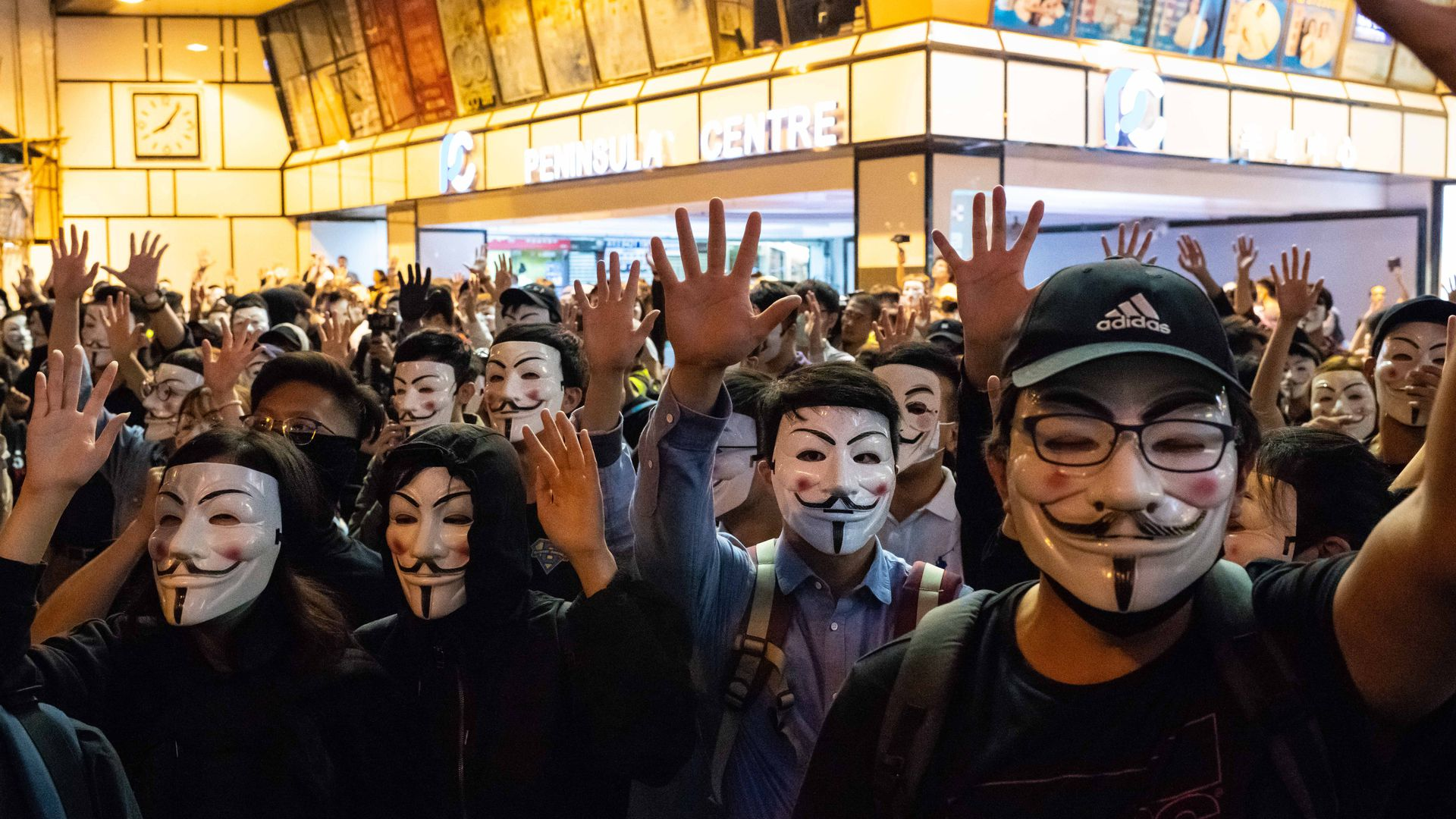 Protestors in Guy Fawkes mask march on November 05, 2019 in Hong Kong