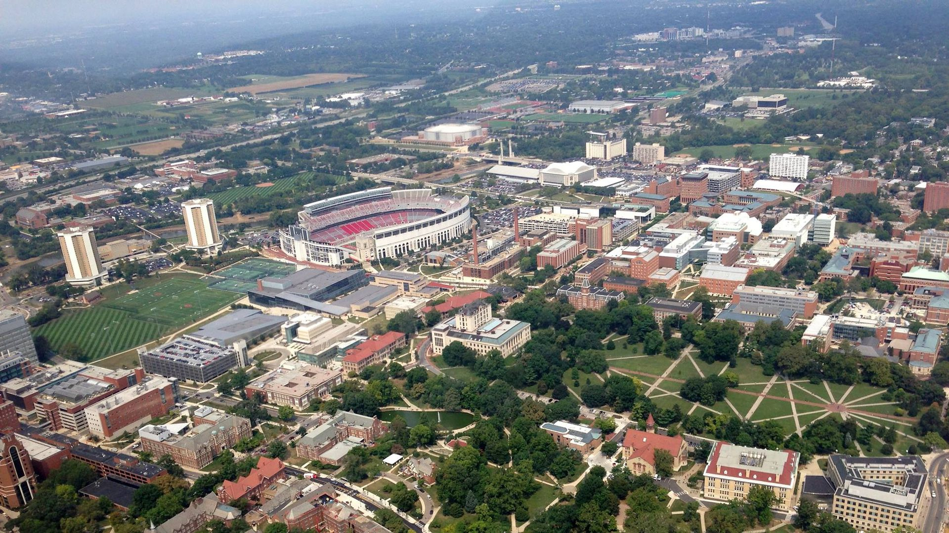 Ohio State University campus, aerial view.