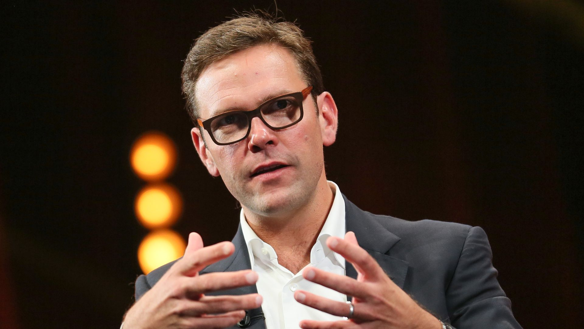 James Murdoch at a keynote in Cannes, France.