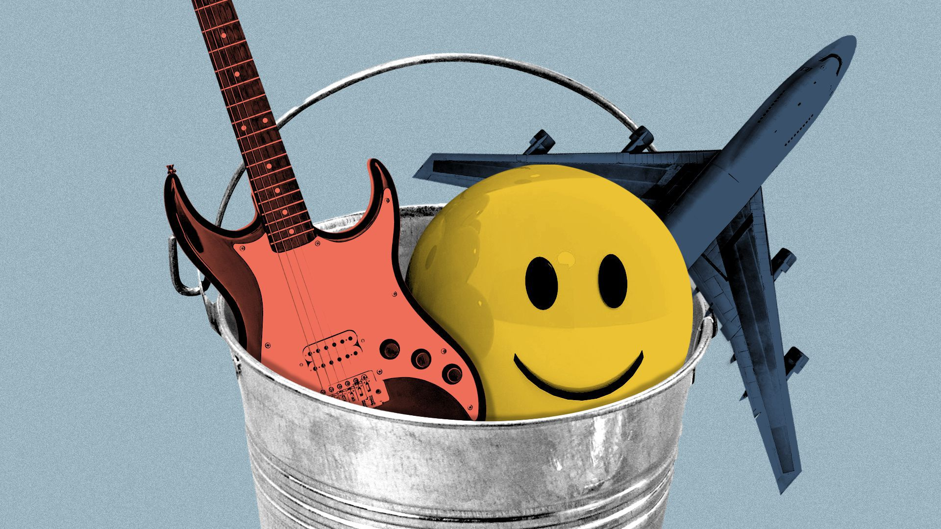 Illustration of a bucket filled with an airplane, a guitar, and a smiley-face ball.