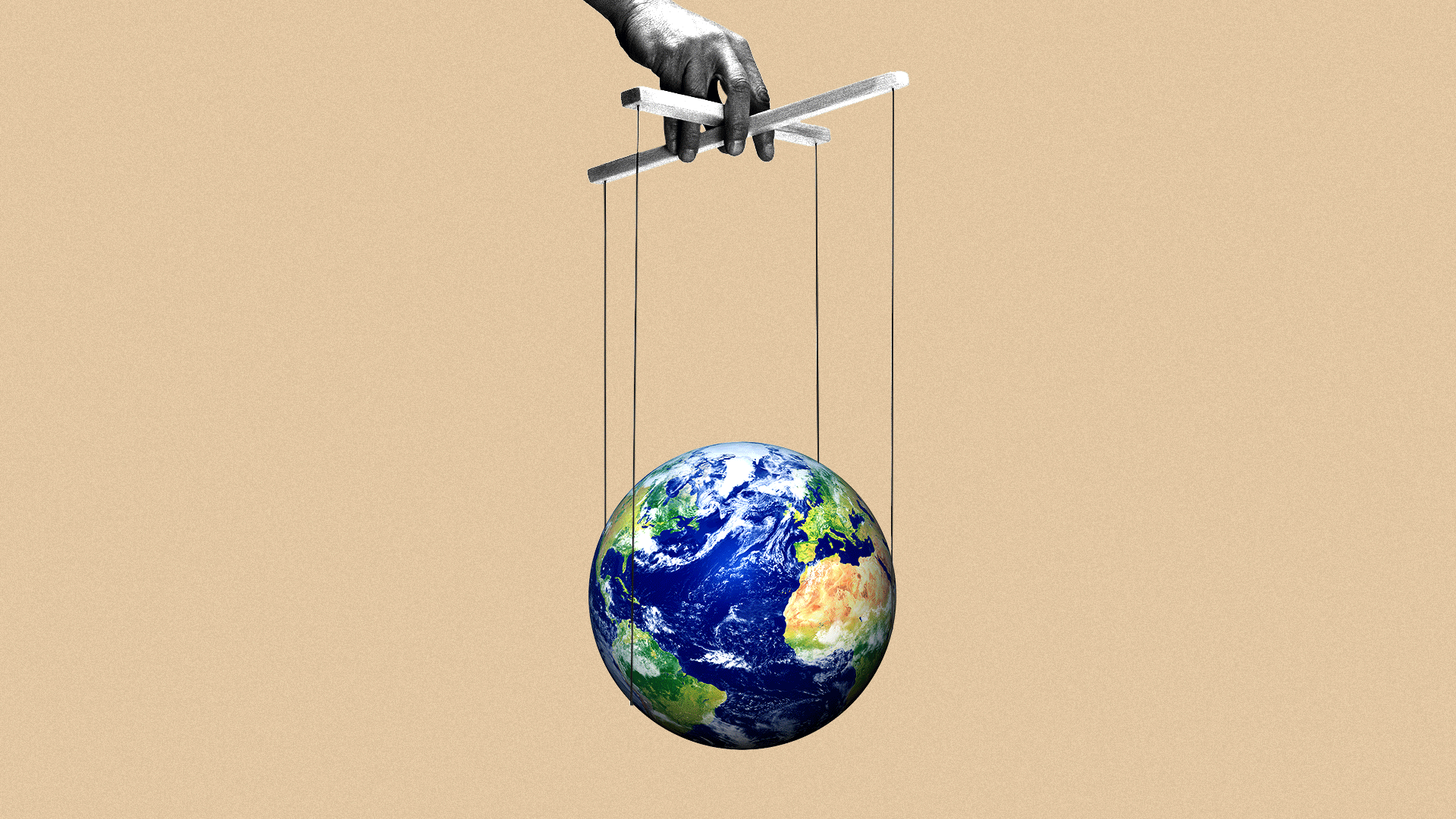 illustration of a marionette strings attached to a globe