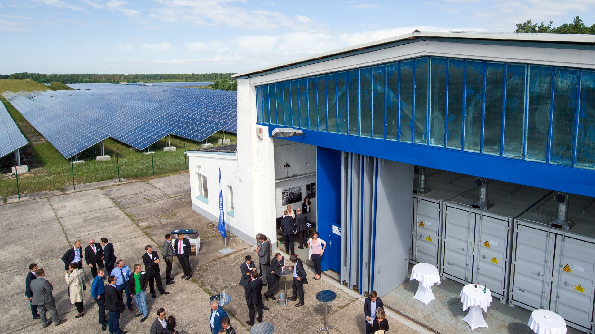 The new mass battery storage for electricity from a solar field is located in a former airplane hangar at the airfield in Neuhardenberg, Germany, 05 July 2016.