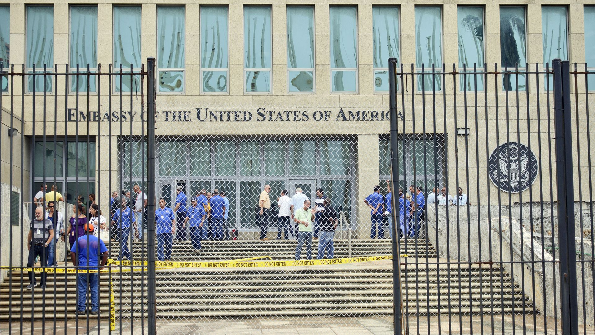 Personnel gather outside the U.S. Embassy in Cuba in 2017 in the wake of mysterious health problems.
