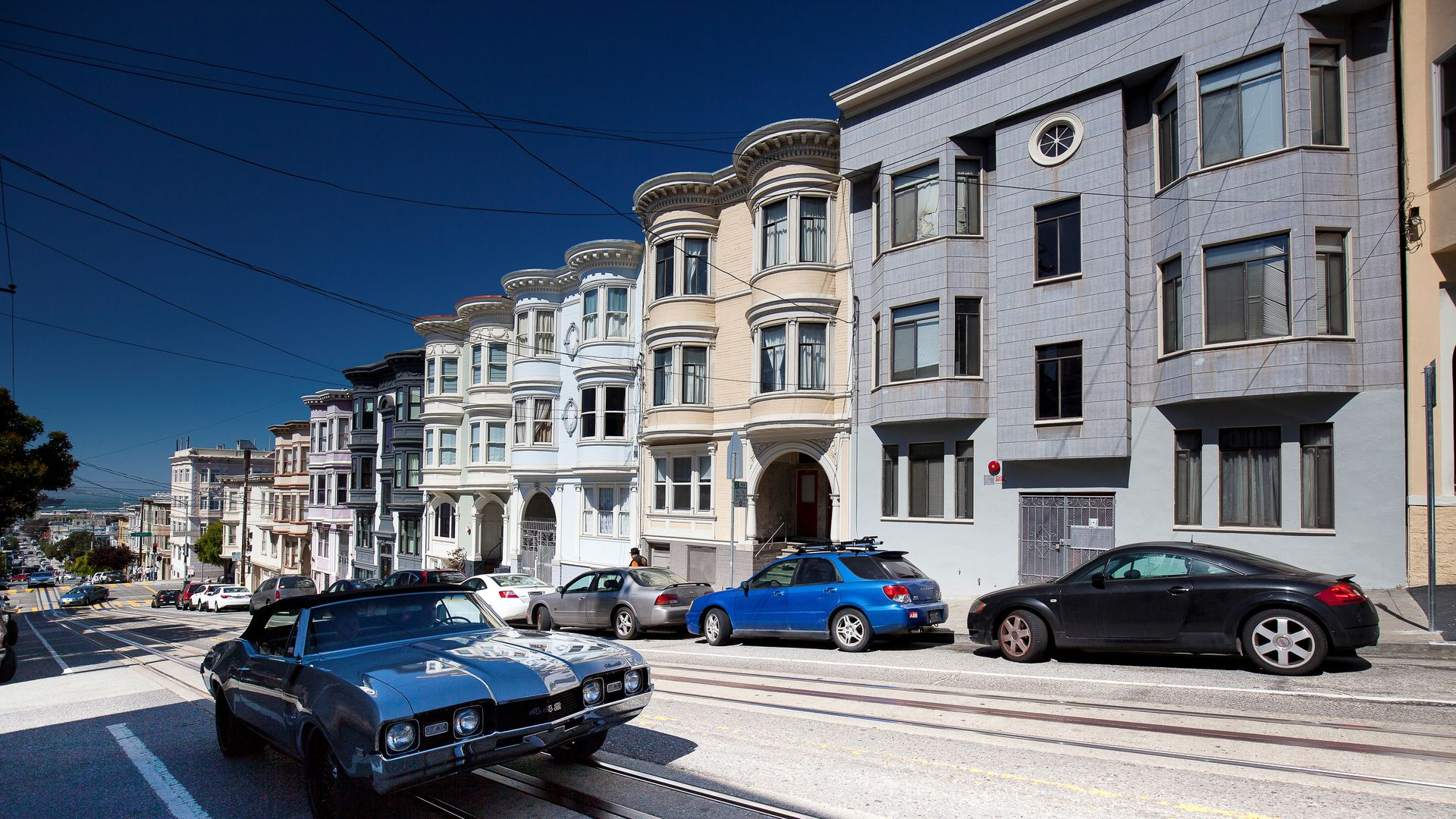 Photo of a row of apartment buildings in San Francisco.