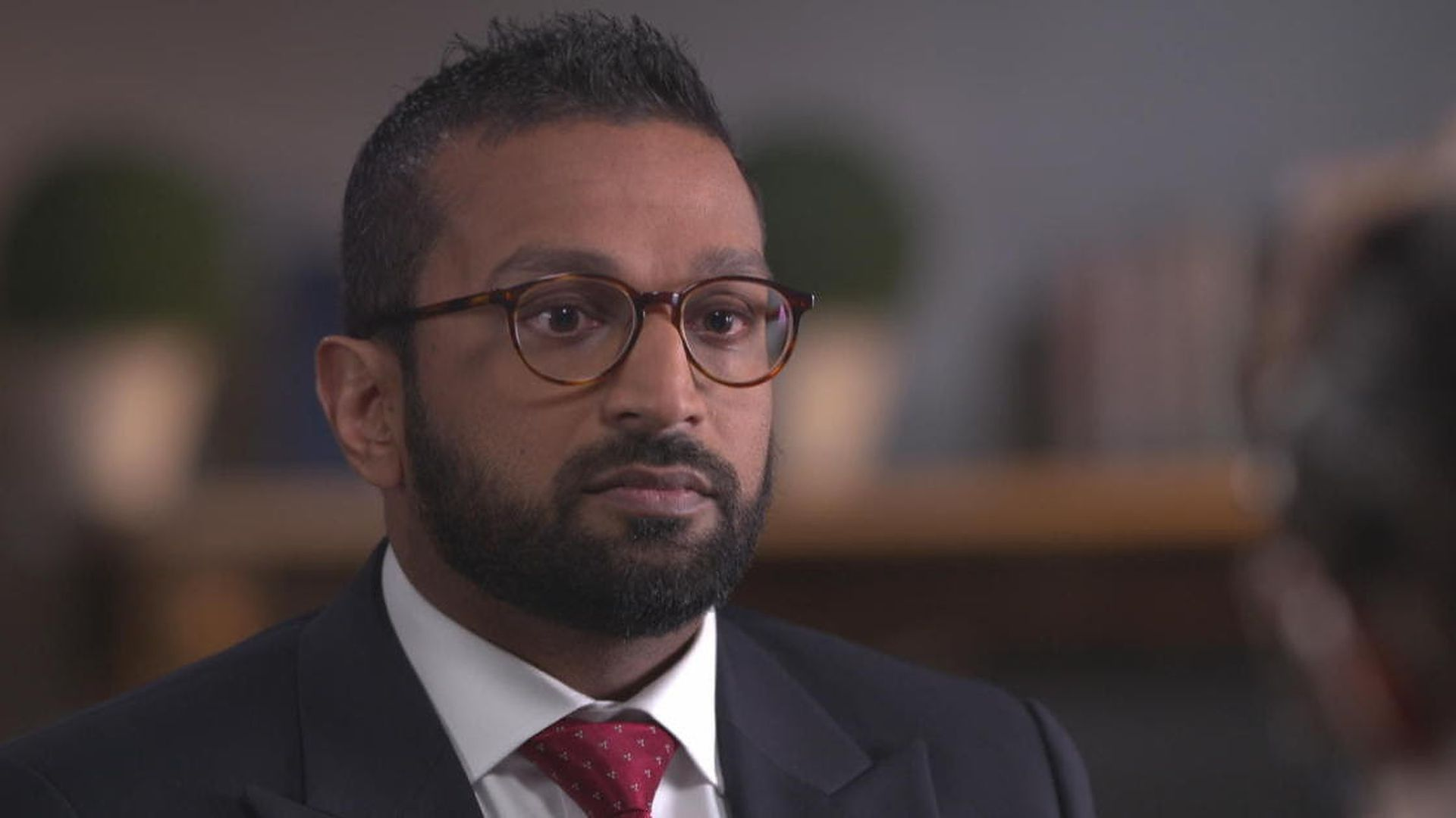 A screengrab of Kash Patel from his CBS interview.