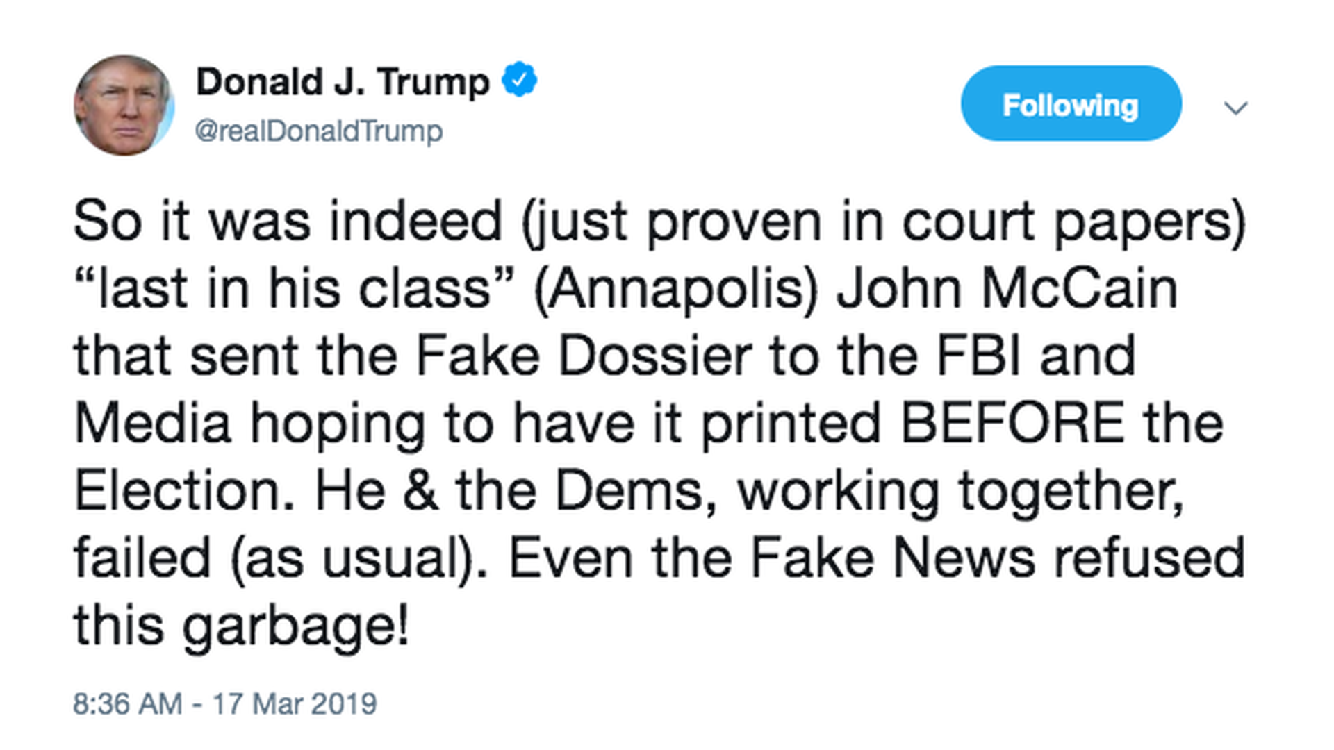 """""""Last in his class"""": Trump attacks late John McCain for 2nd time in two days"""