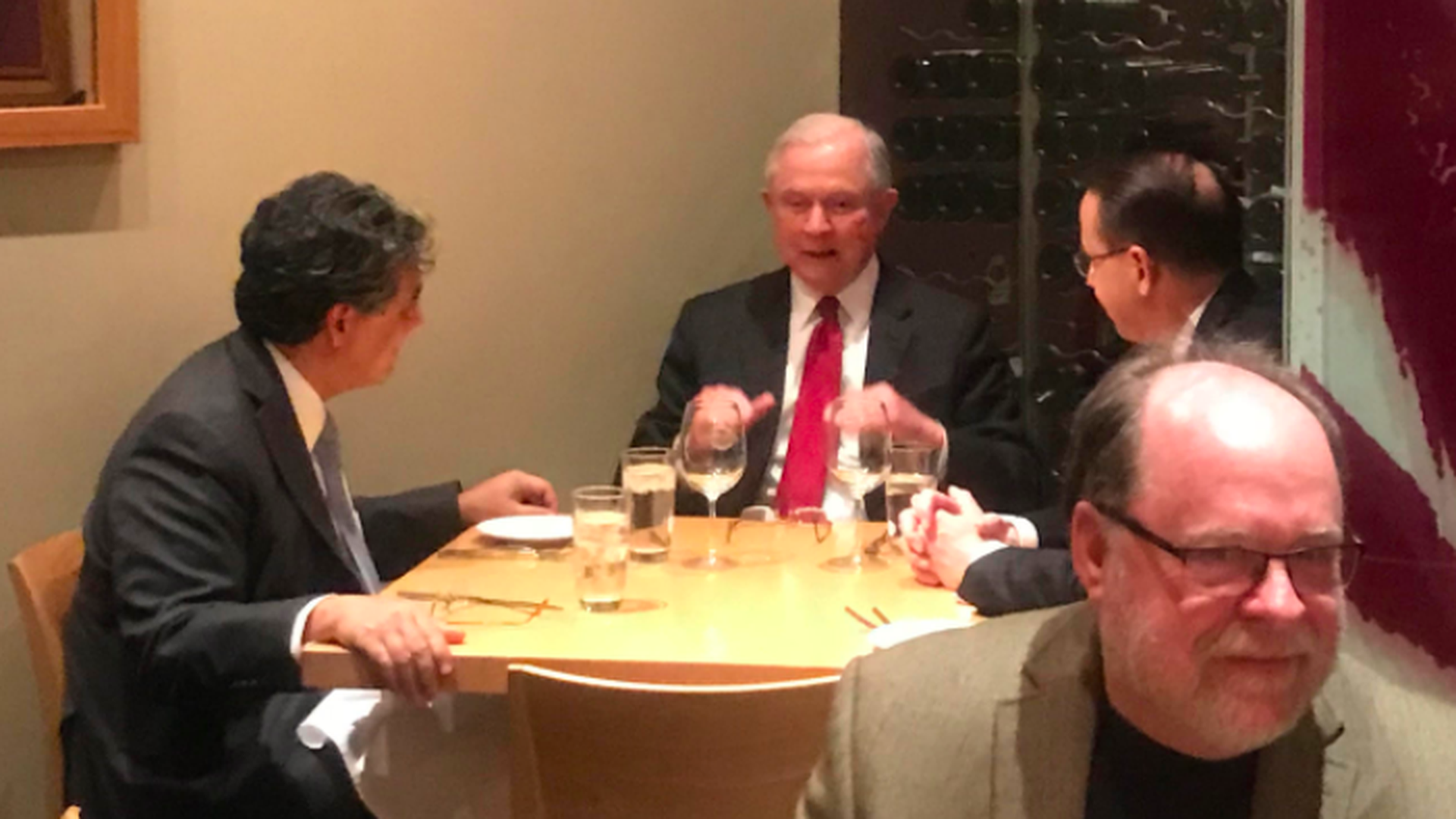 Image result for photo of sessions and rod rosenstein at dinner