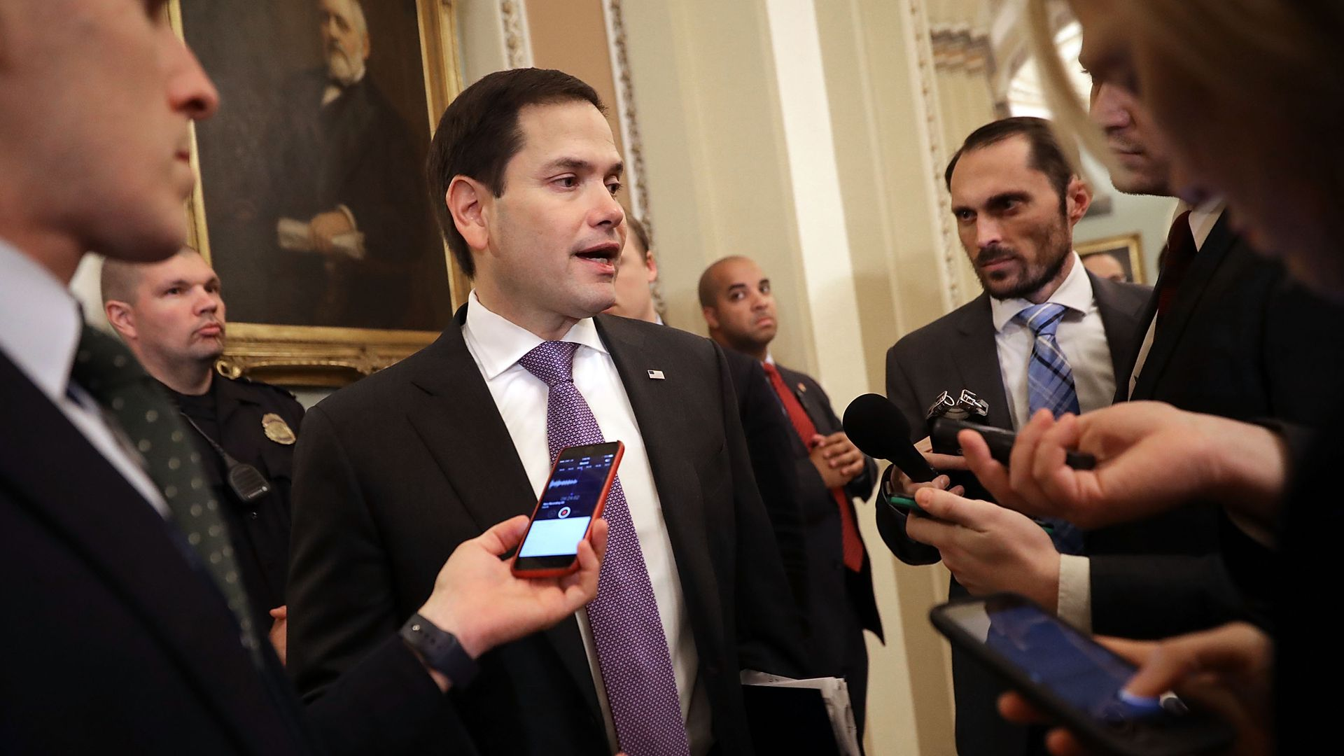 Rubio speaks to reporters