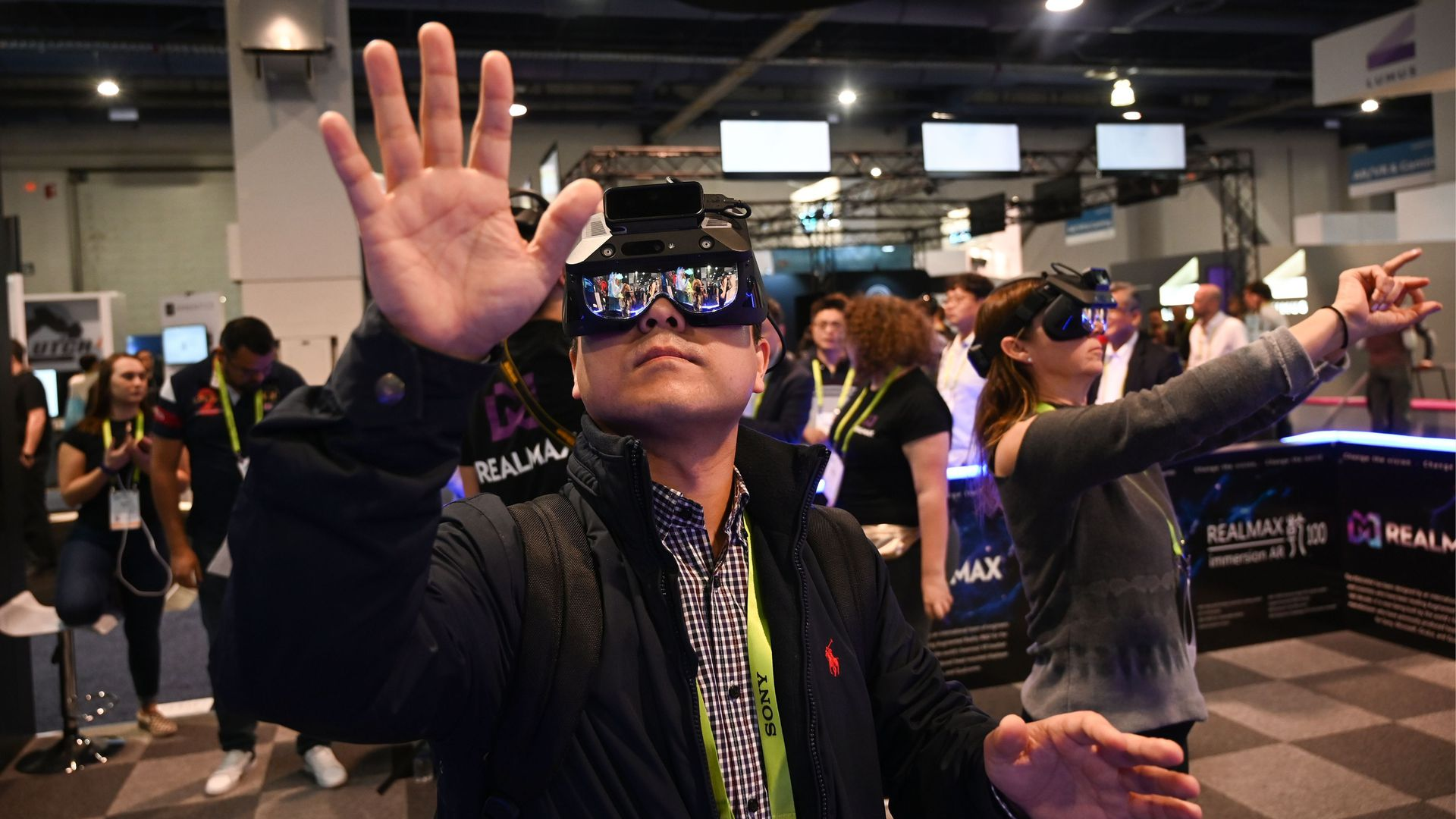 People using virtual reality glasses.