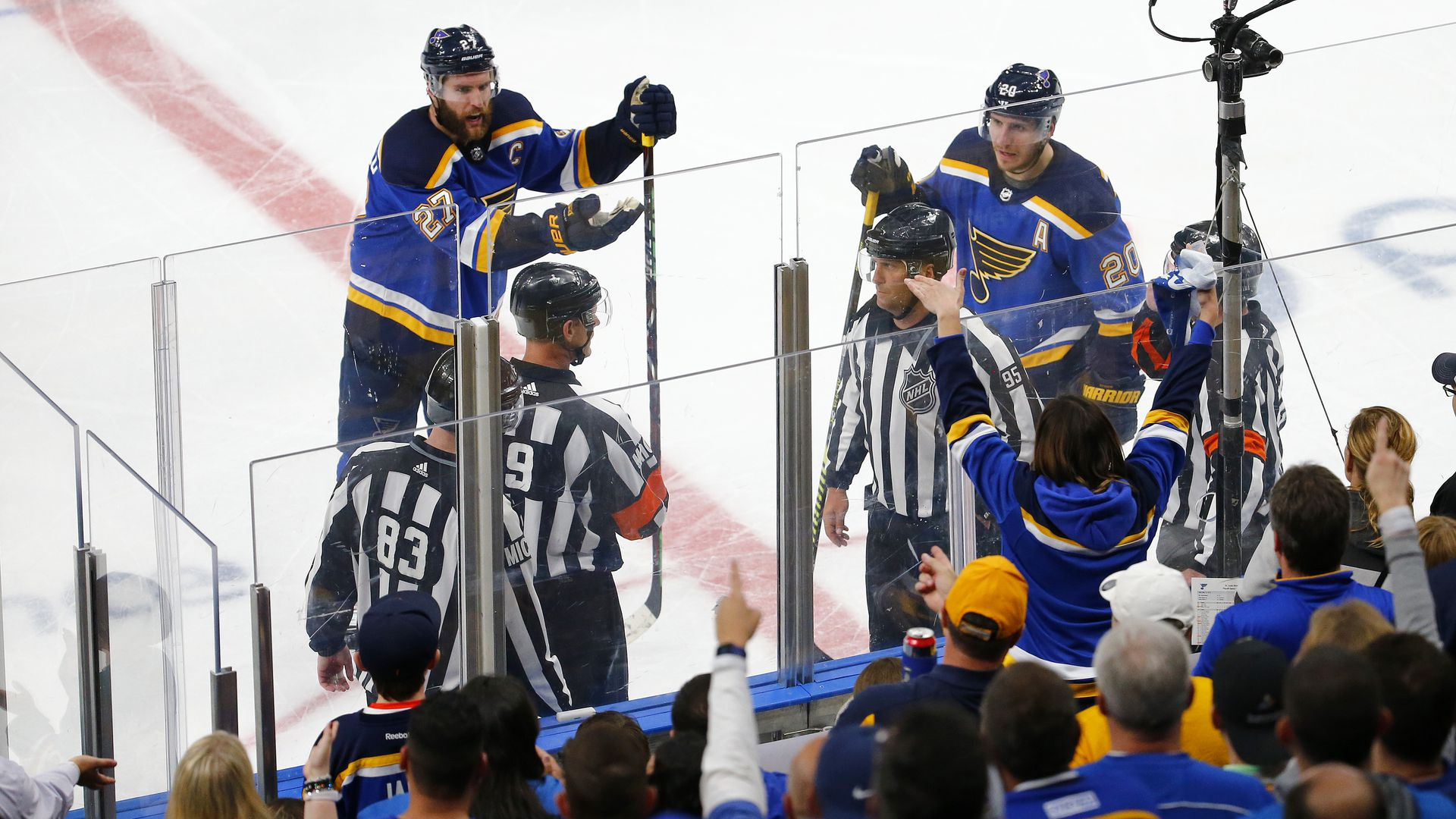 Blues players arguing with the refs