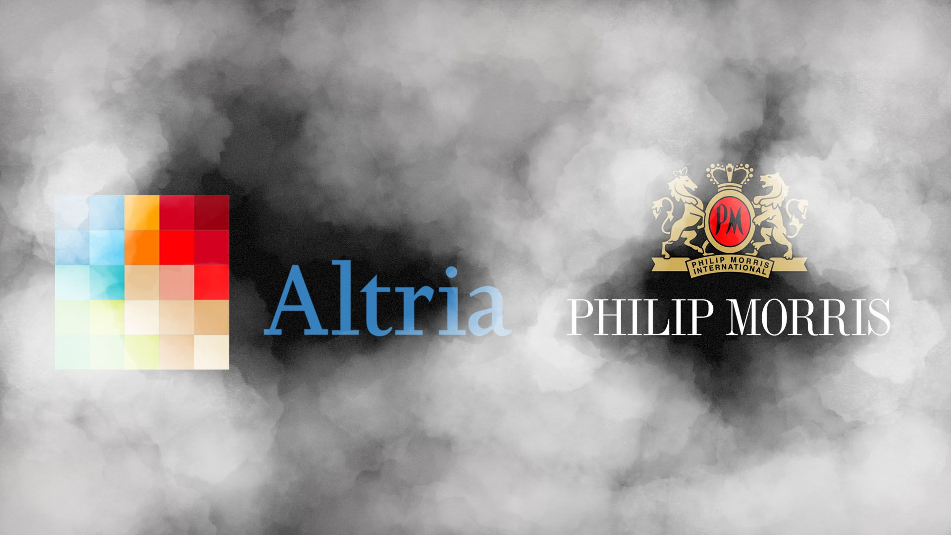Illustration of the Phillip Morris and Altria logos lost in plume of vape smoke.