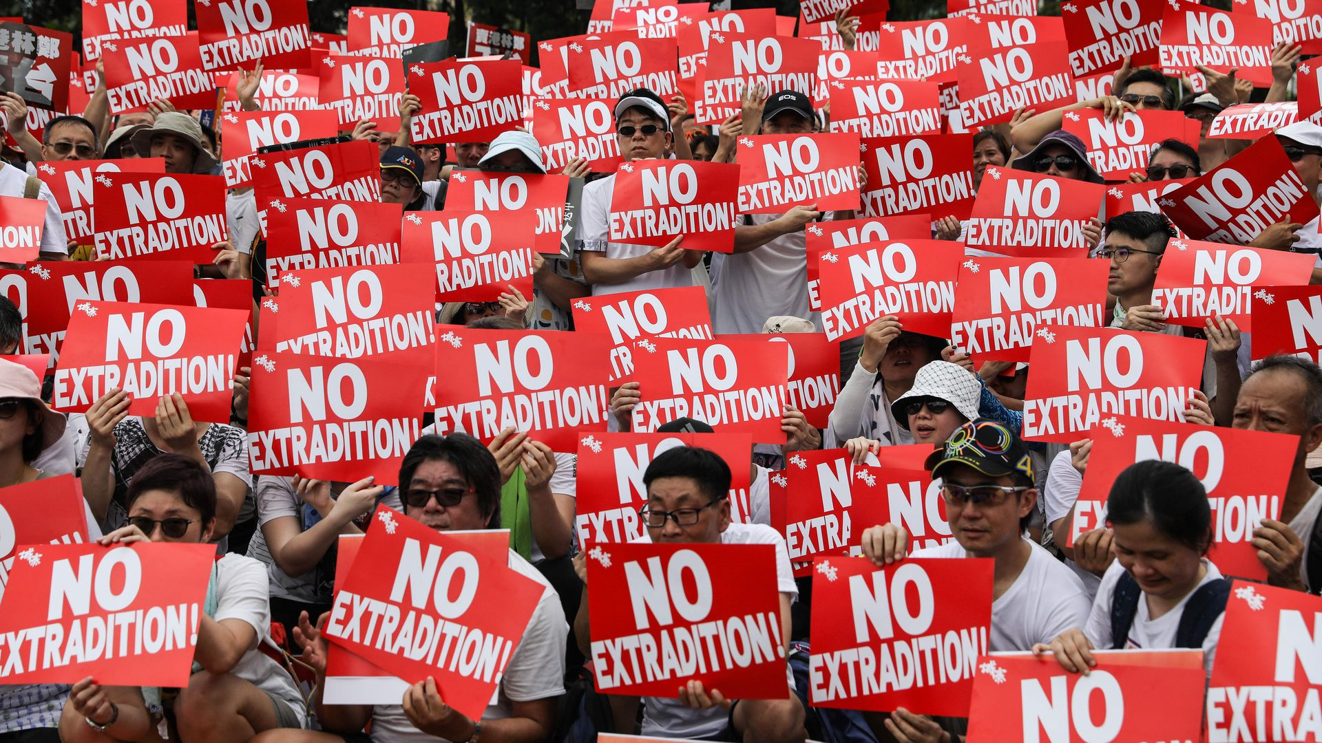 Protesters attend a rally against a controversial extradition law proposal in Hong Kong on June 9, 2019.