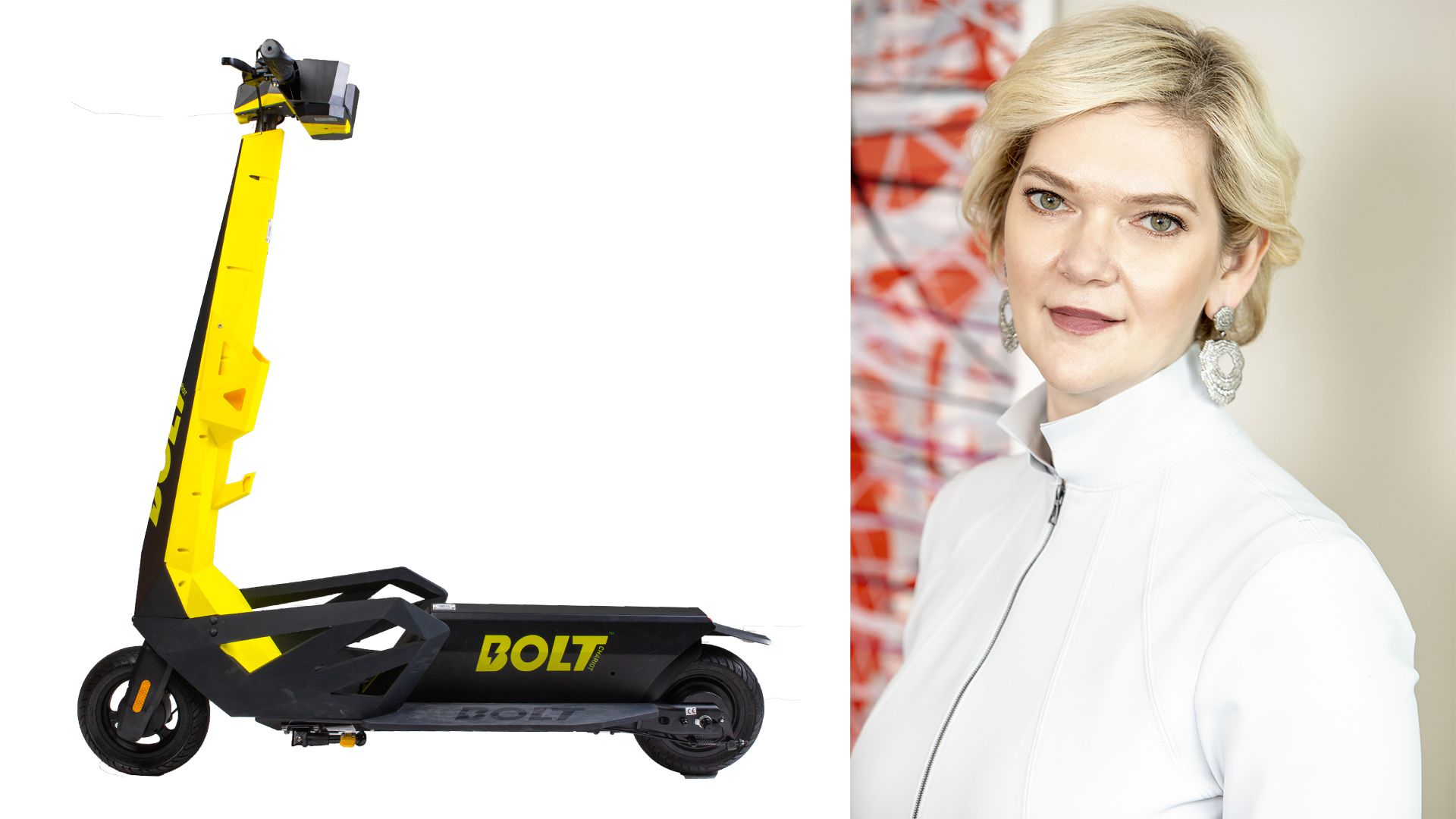 Photo collage of CEO Julia Steyn and a Bolt scooter