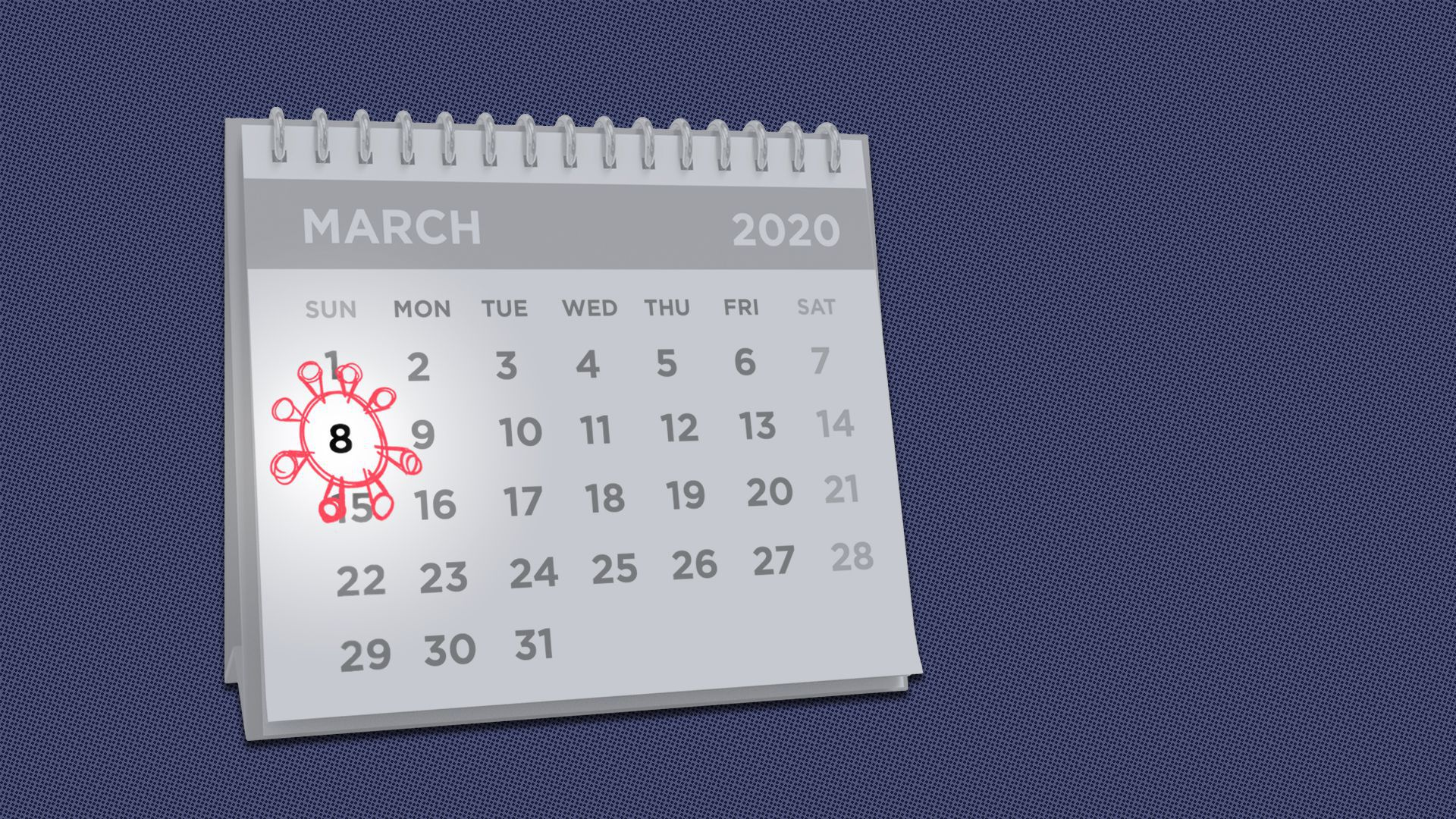 Illustration of a calendar with March 8, 2020, circled with the shape of coronavirus.