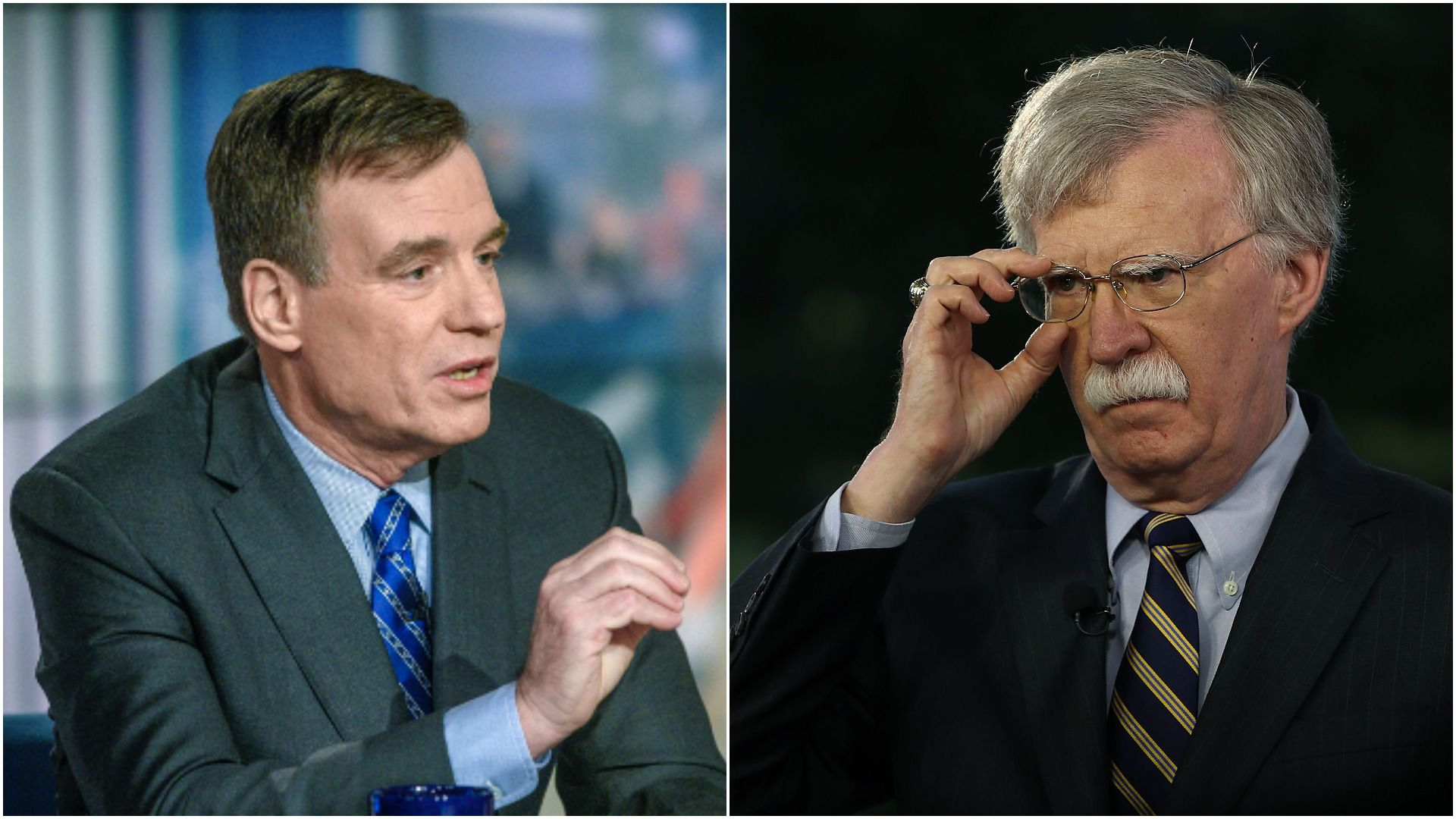 Warner and Bolton face each other in a photo collage