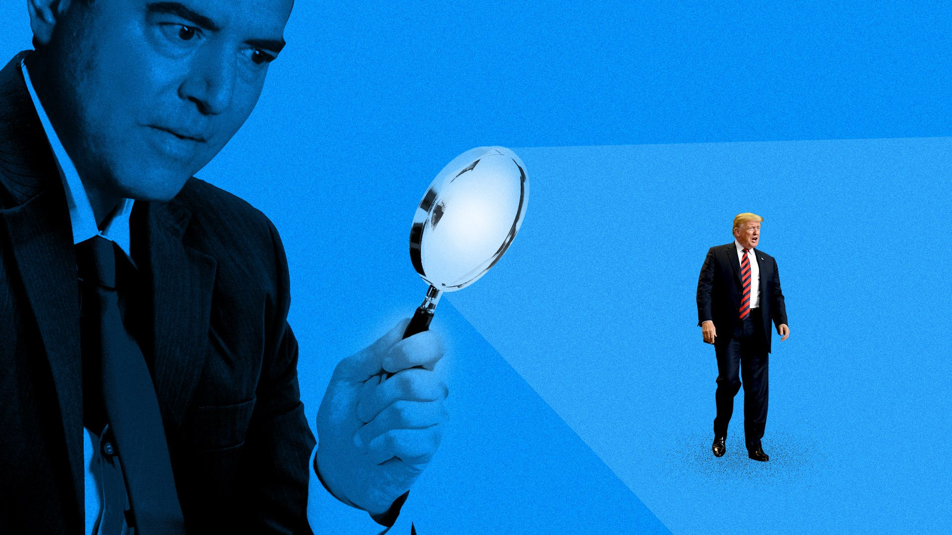 Representative Adam Schiff looming over Donald Trump with a magnifying glass