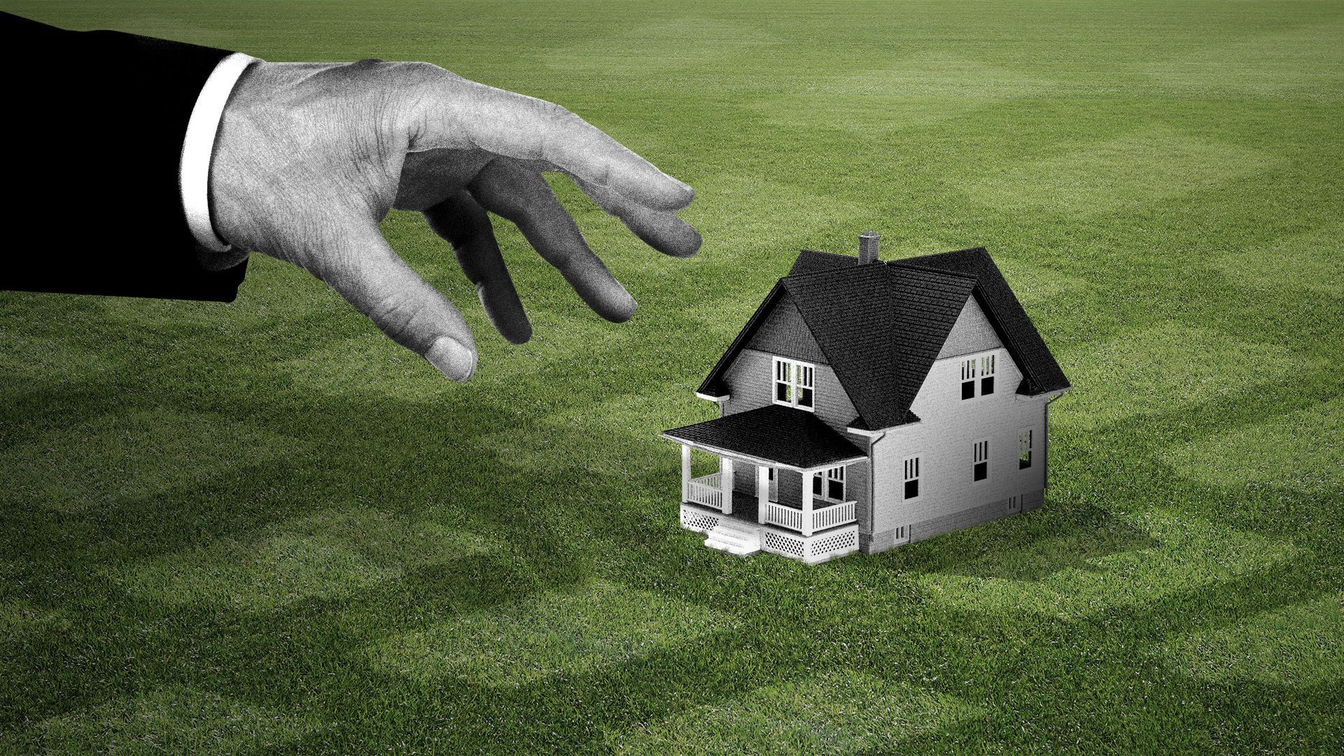 Illustration of a hand about to pick up the last house surrounded by leftover imprints of other long gone houses.