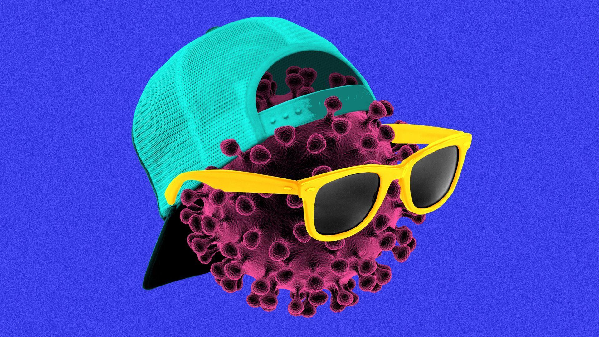 Illustration of a coronavirus particle wearing a backwards baseball hat and sunglasses.