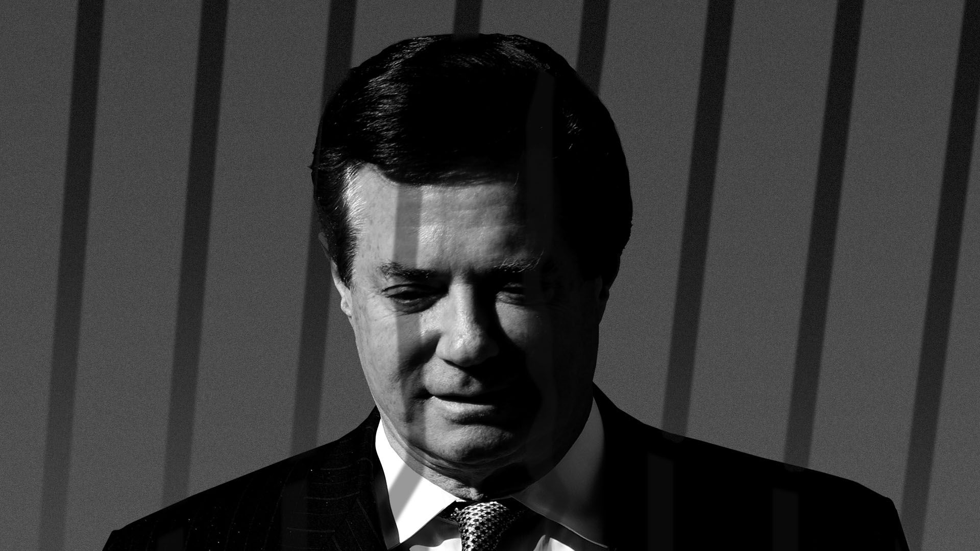 Illustration of Paul Manafort with shadows of jail bars over him
