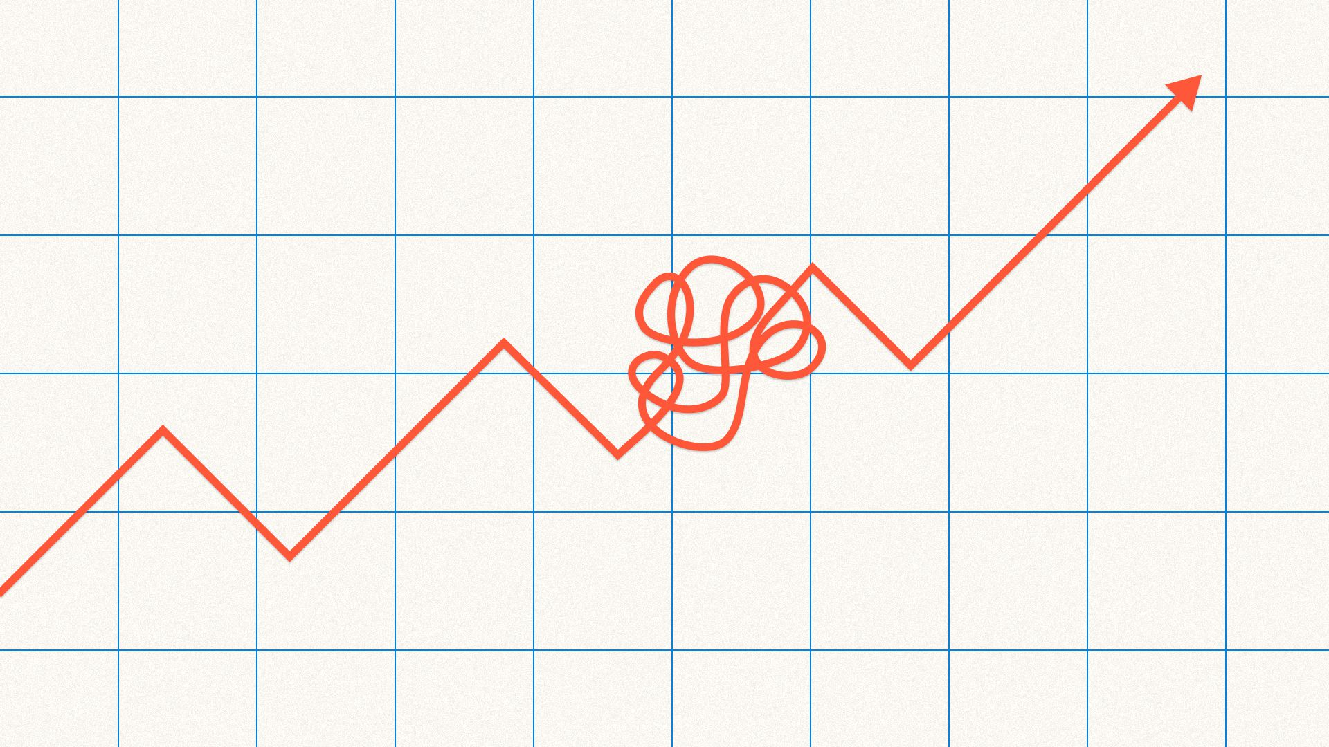 Illustration of upward trending line graph with knot in the middle
